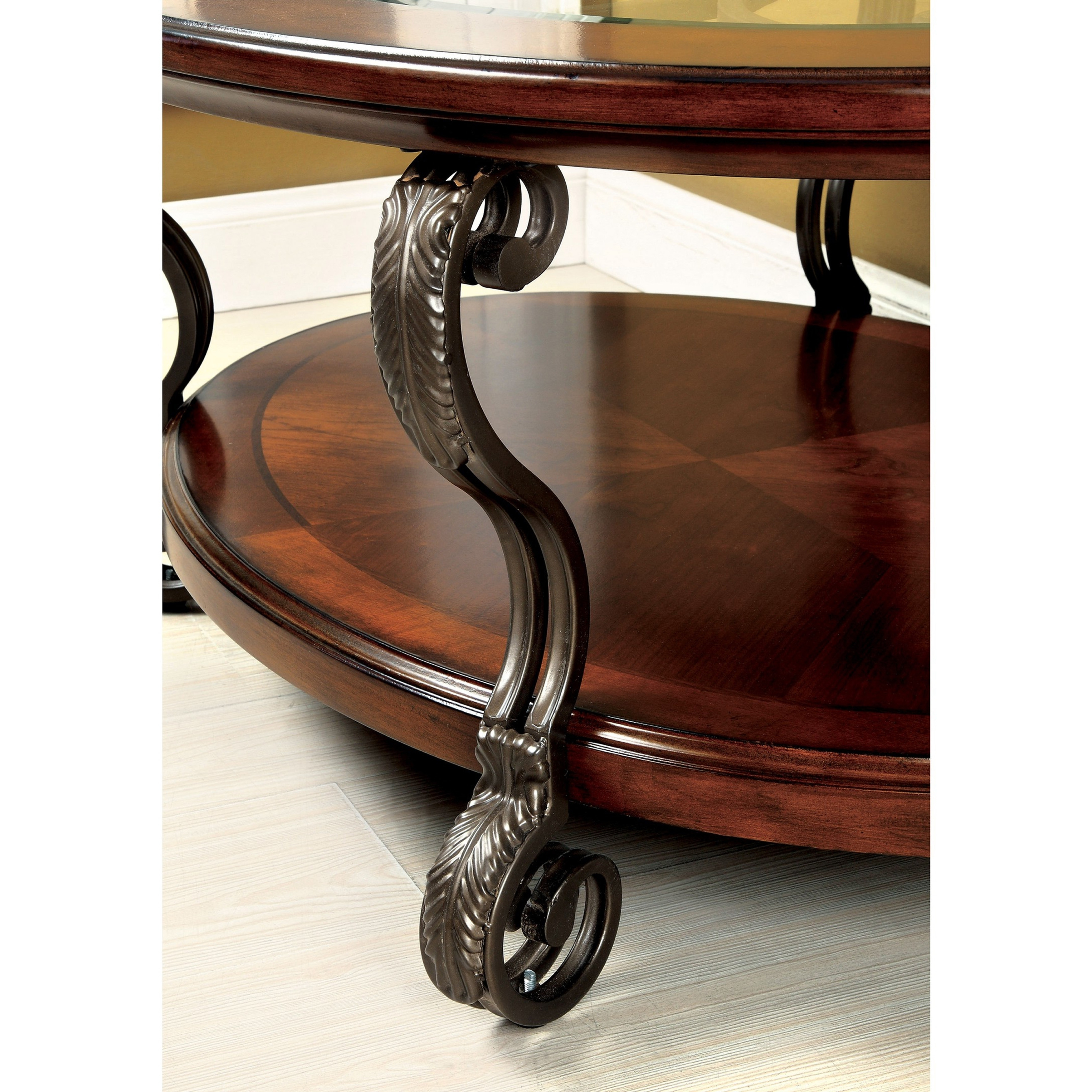 Favorite Cohler Traditional Brown Cherry Oval Coffee Tables With Regard To Furniture Of America Cohler Traditional Brown Cherry Oval Coffee Table Foa (View 3 of 20)