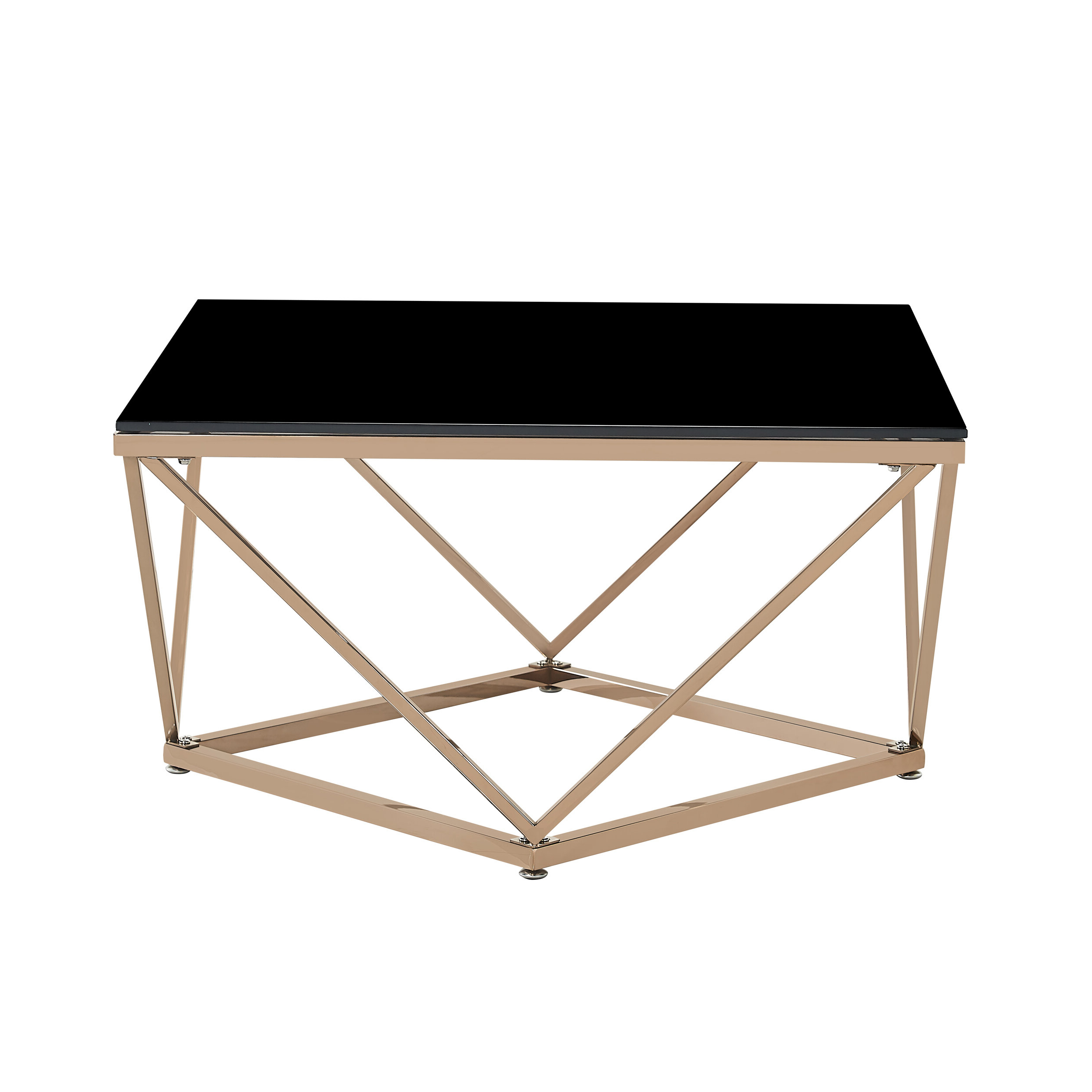 Favorite Glossy White Hollow Core Tempered Glass Cocktail Tables With Regard To Mote Modern Glam Tempered Glass And Stainless Steel Coffee Table With Tray Top (View 18 of 20)