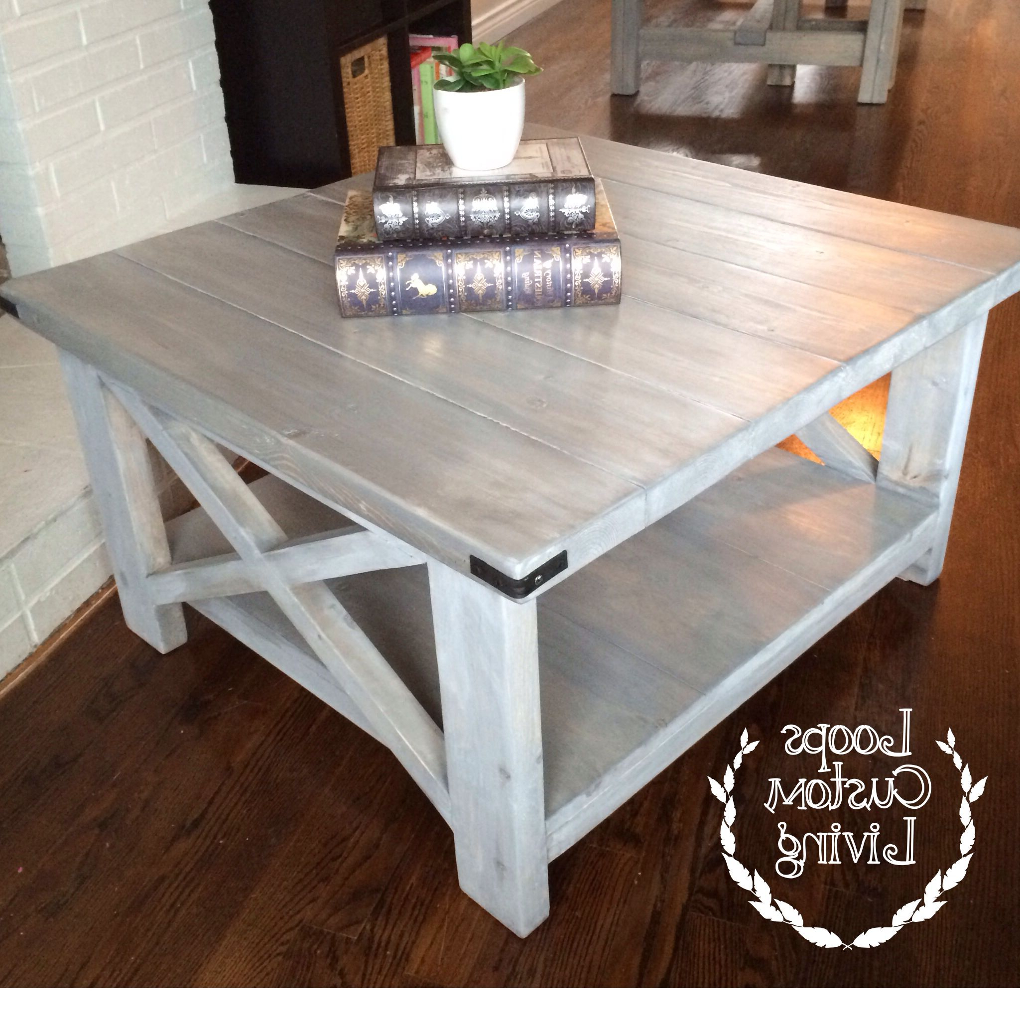 Favorite Seaside Lodge Coffee Tables Intended For White Washed Grey Industrial Square Coffee Table (View 4 of 20)