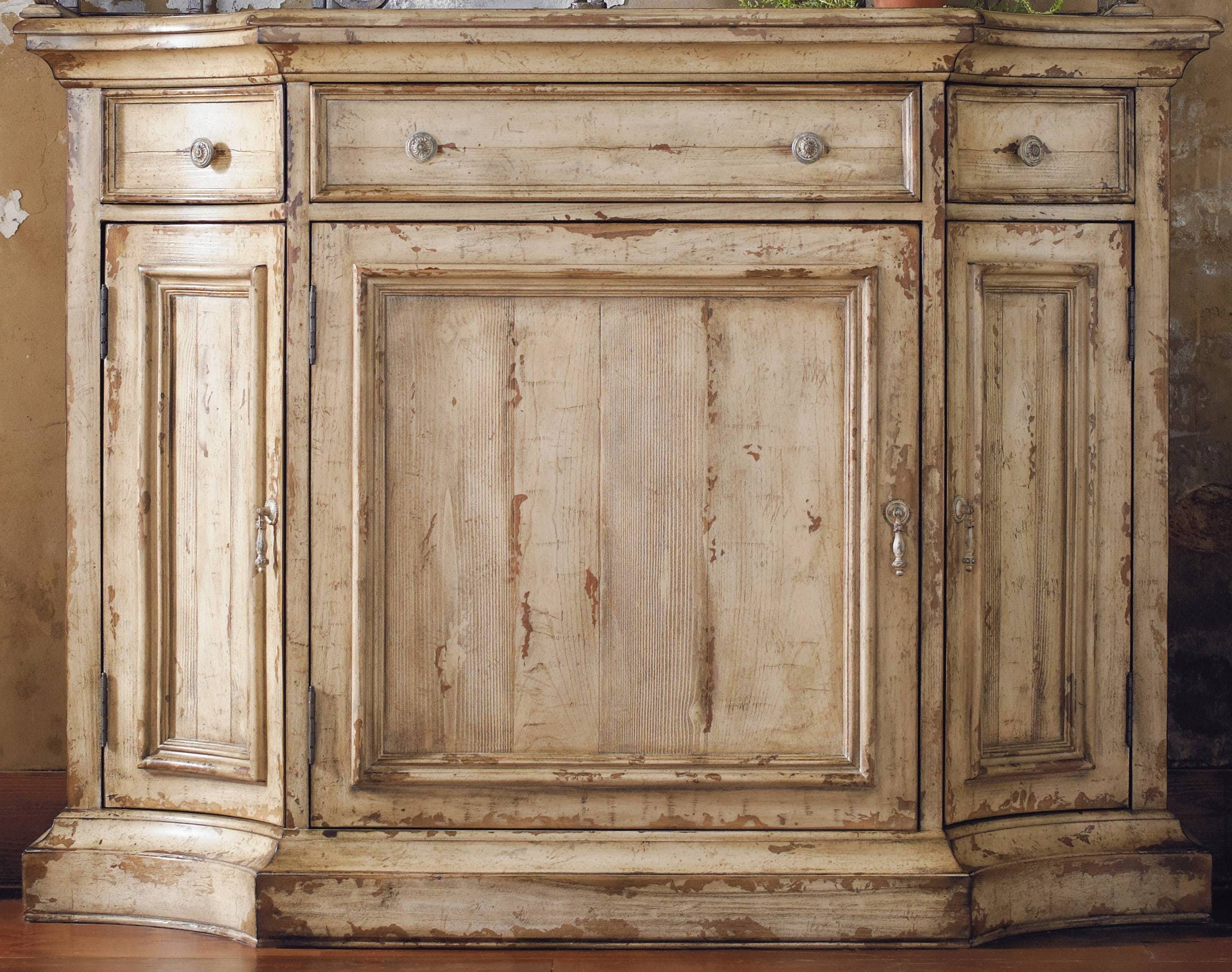 Featuring A Unique Taupe Paint Finish With Cherry And Pine Within Hayslett Sideboards (View 17 of 20)