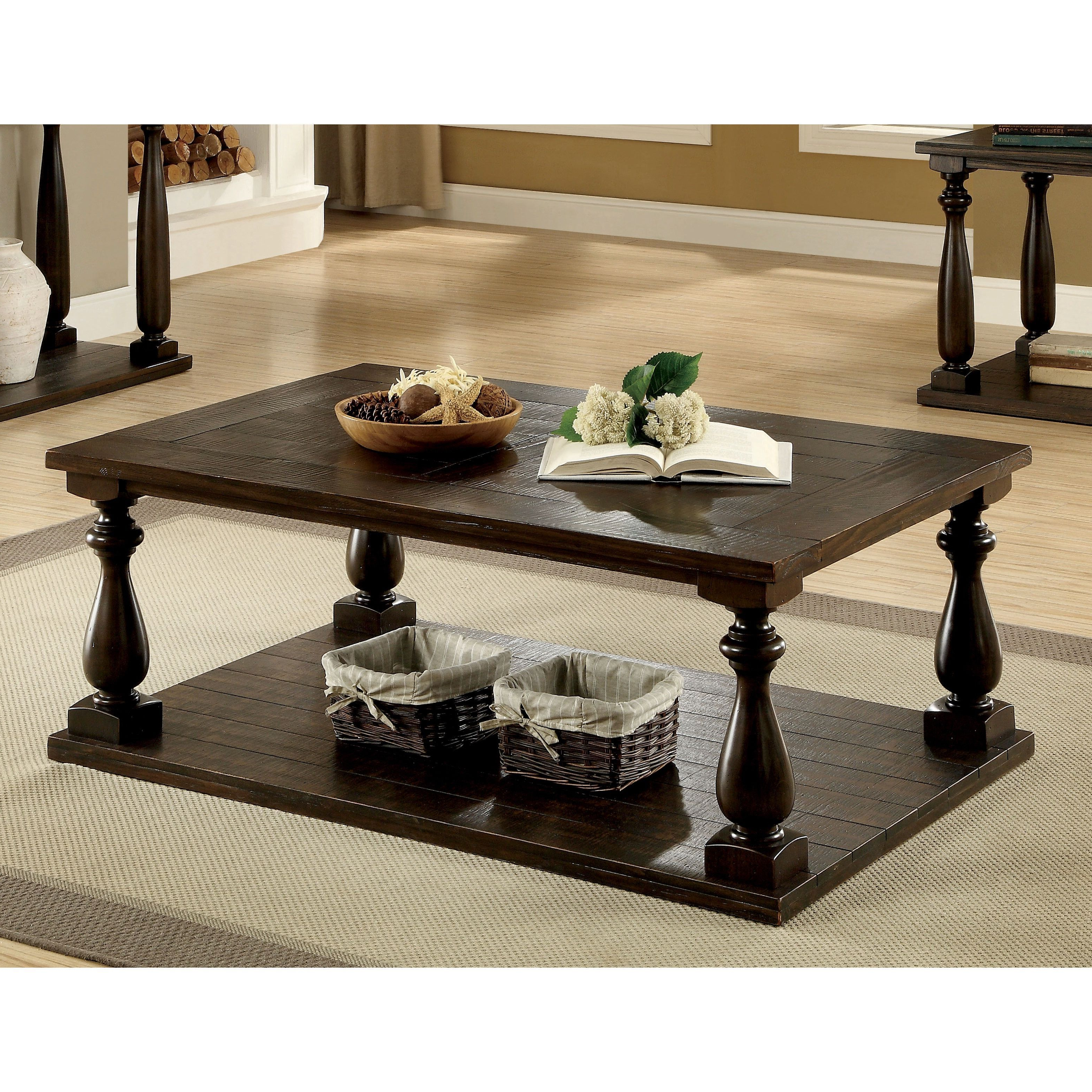 Furniture Of America Besser Plank Style Dark Walnut Open In Most Recently Released Jessa Rustic Country 54 Inch Coffee Tables (View 9 of 20)