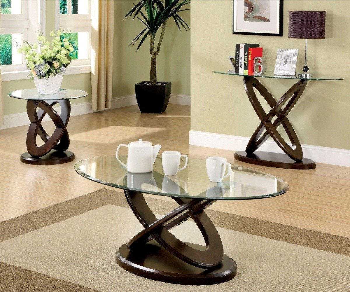 Furniture Of America Caliyah Oval Glass Top Coffee Table Regarding Preferred Velma Modern Satin Plated Coffee Tables (View 11 of 20)