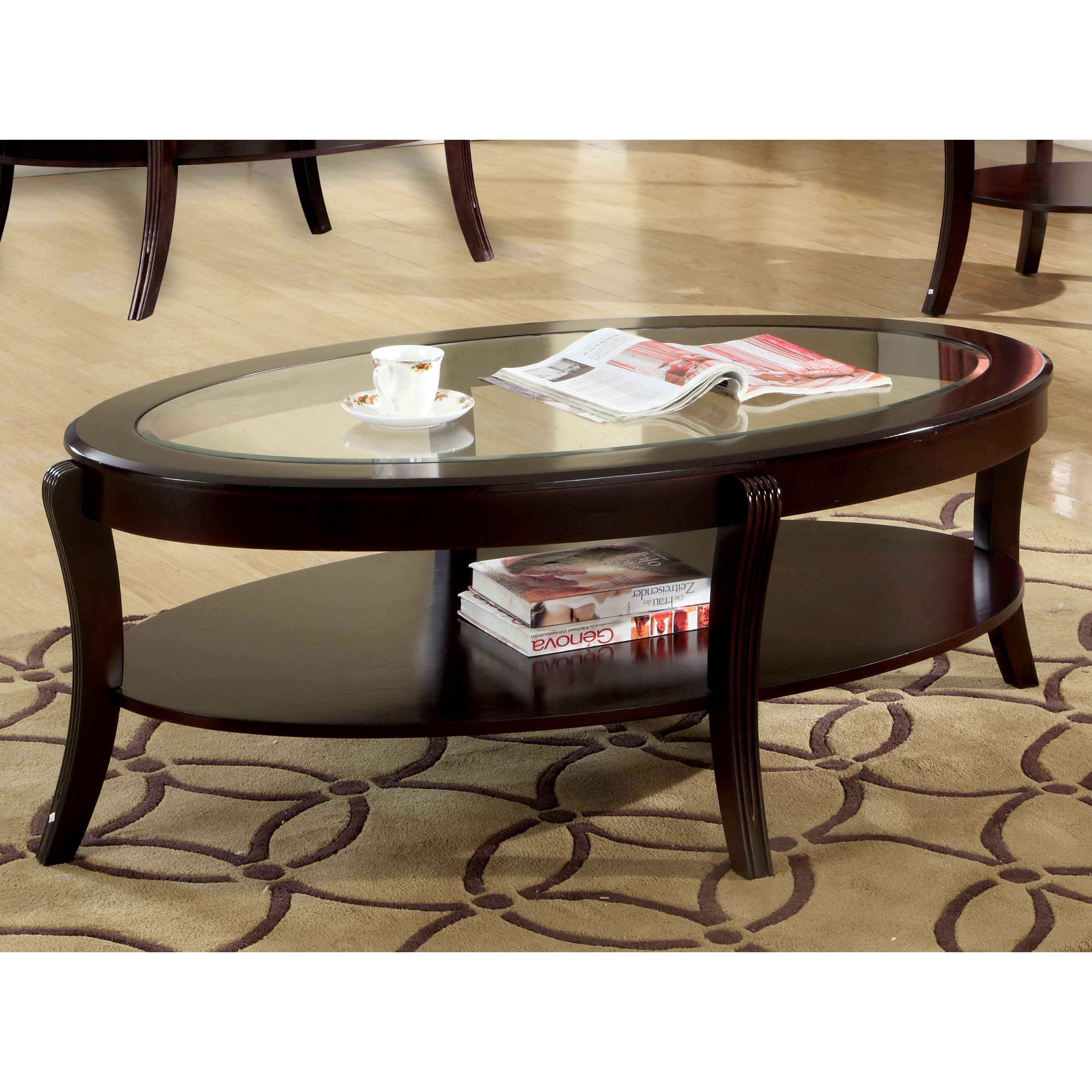 Furniture Of America Carline Modern Espresso Coffee Table With Regard To 2020 Evalline Modern Dark Walnut Coffee Tables (View 11 of 20)