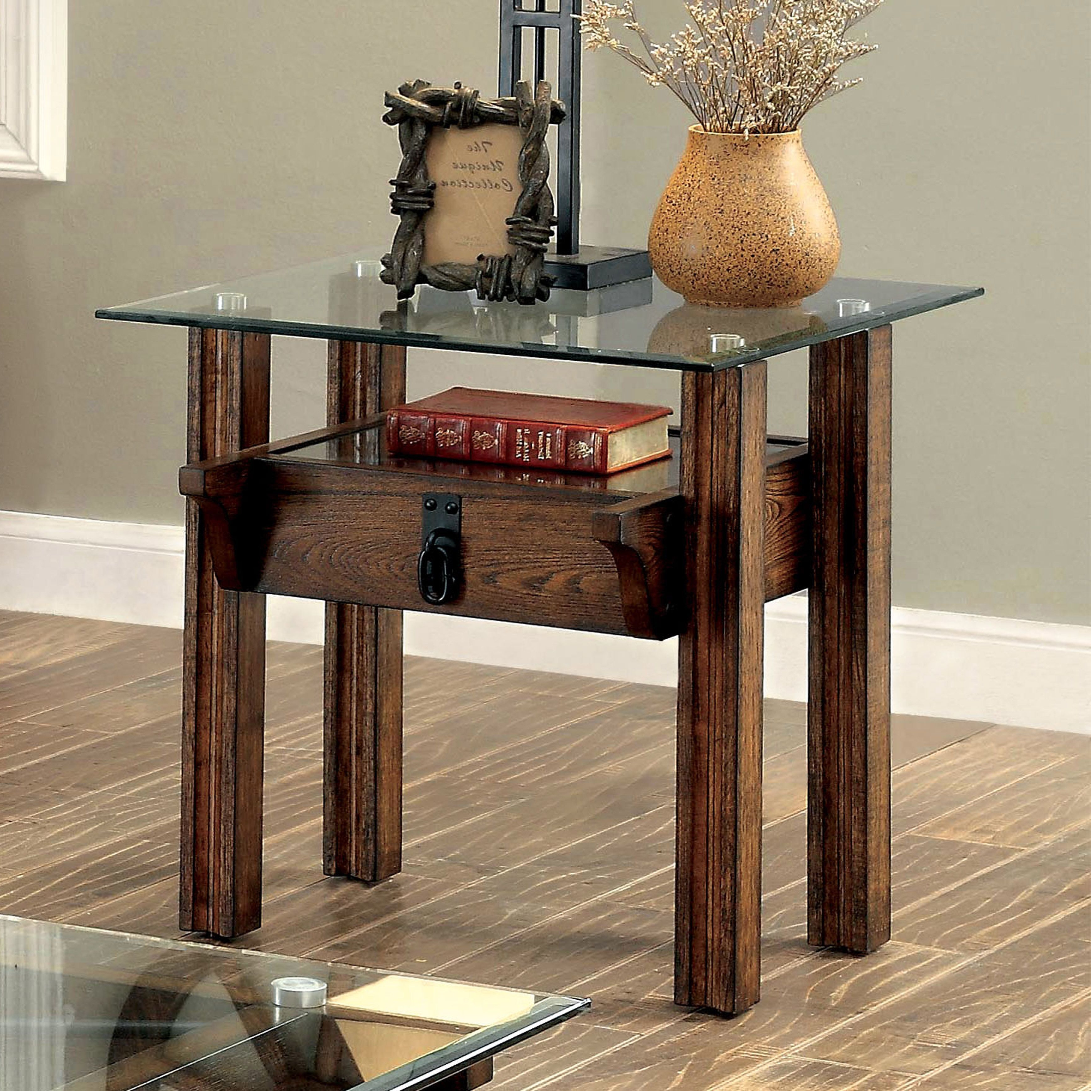 Furniture Of America Charlotte Rustic Glass Top End Table Intended For Newest Furniture Of America Charlotte Weathered Oak Glass Top Coffee Tables (View 11 of 20)