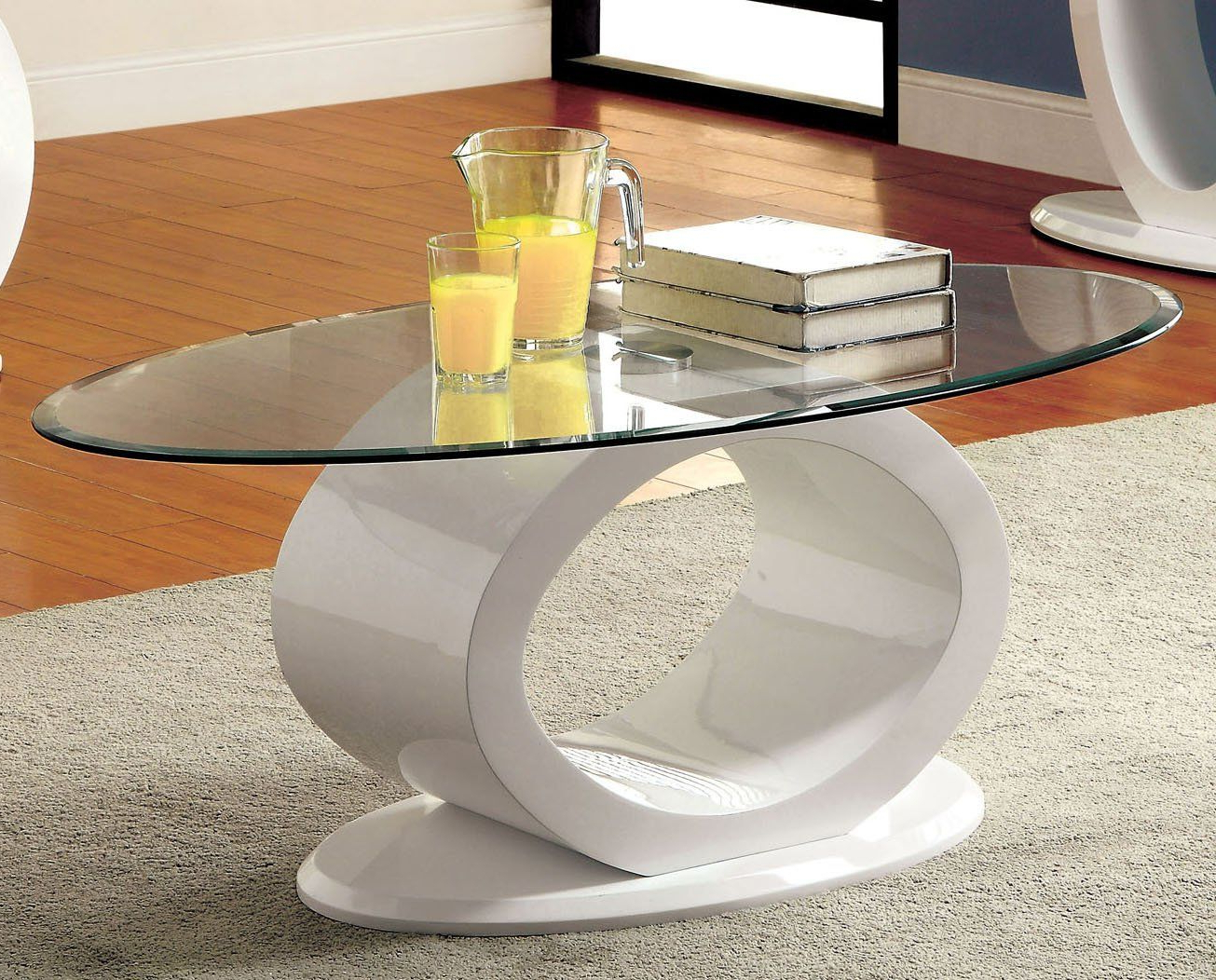 Furniture Of America Cm4825Wh C Lodia White Glass Top Coffee Throughout Recent Velma Modern Satin Plated Coffee Tables (View 5 of 20)