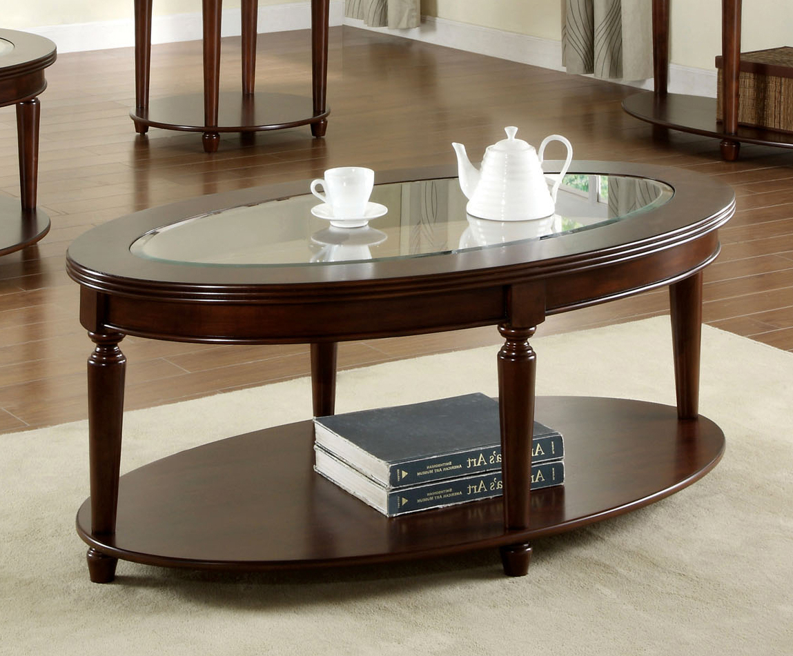 Furniture Of America Crampton Dark Cherry Coffee Table Intended For Well Liked Winslet Cherry Finish Wood Oval Coffee Tables With Casters (View 10 of 20)