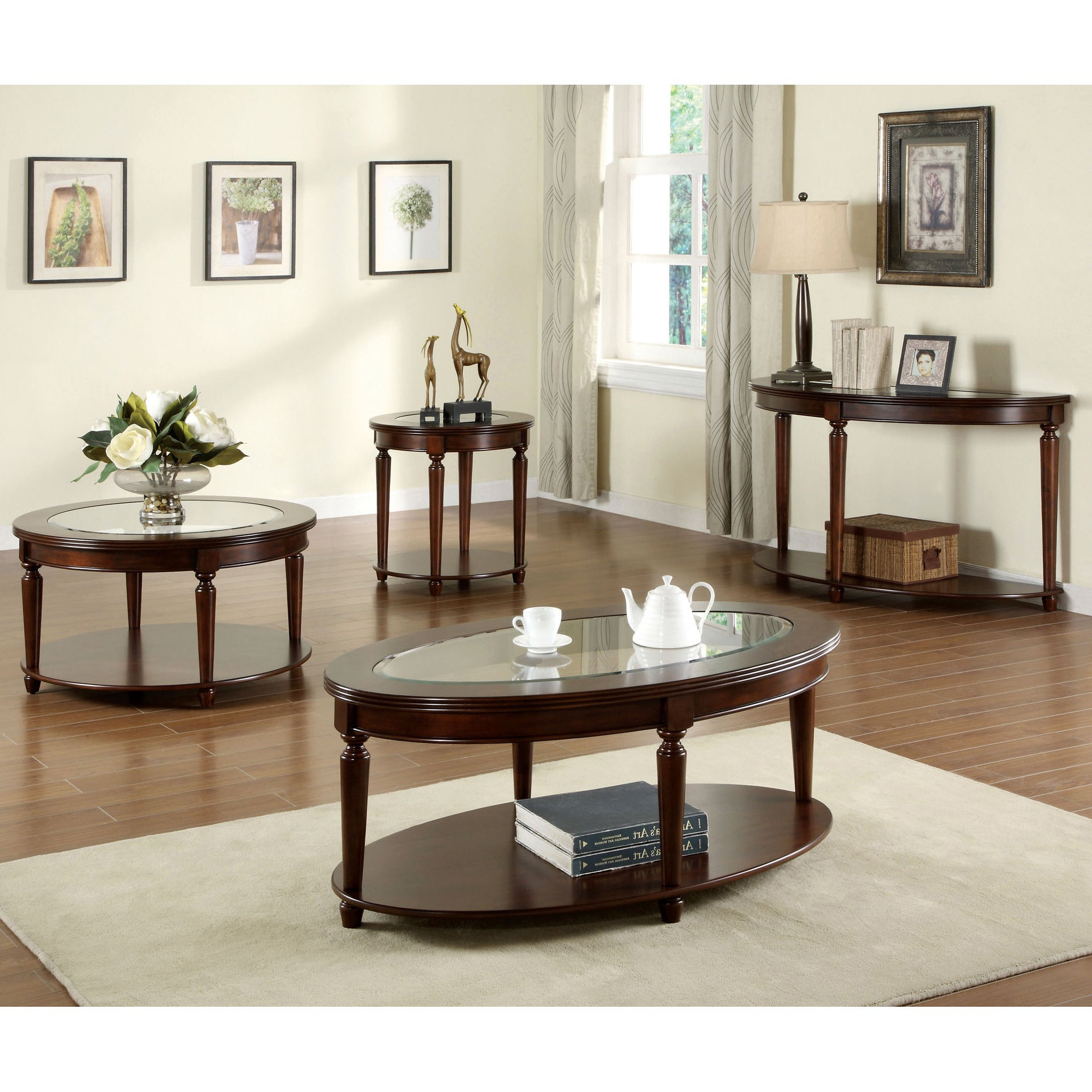 Furniture Of America Crescent Dark Cherry Glass Top Oval Coffee Table Intended For Well Liked Furniture Of America Crescent Dark Cherry Glass Top Oval Coffee Tables (View 11 of 20)