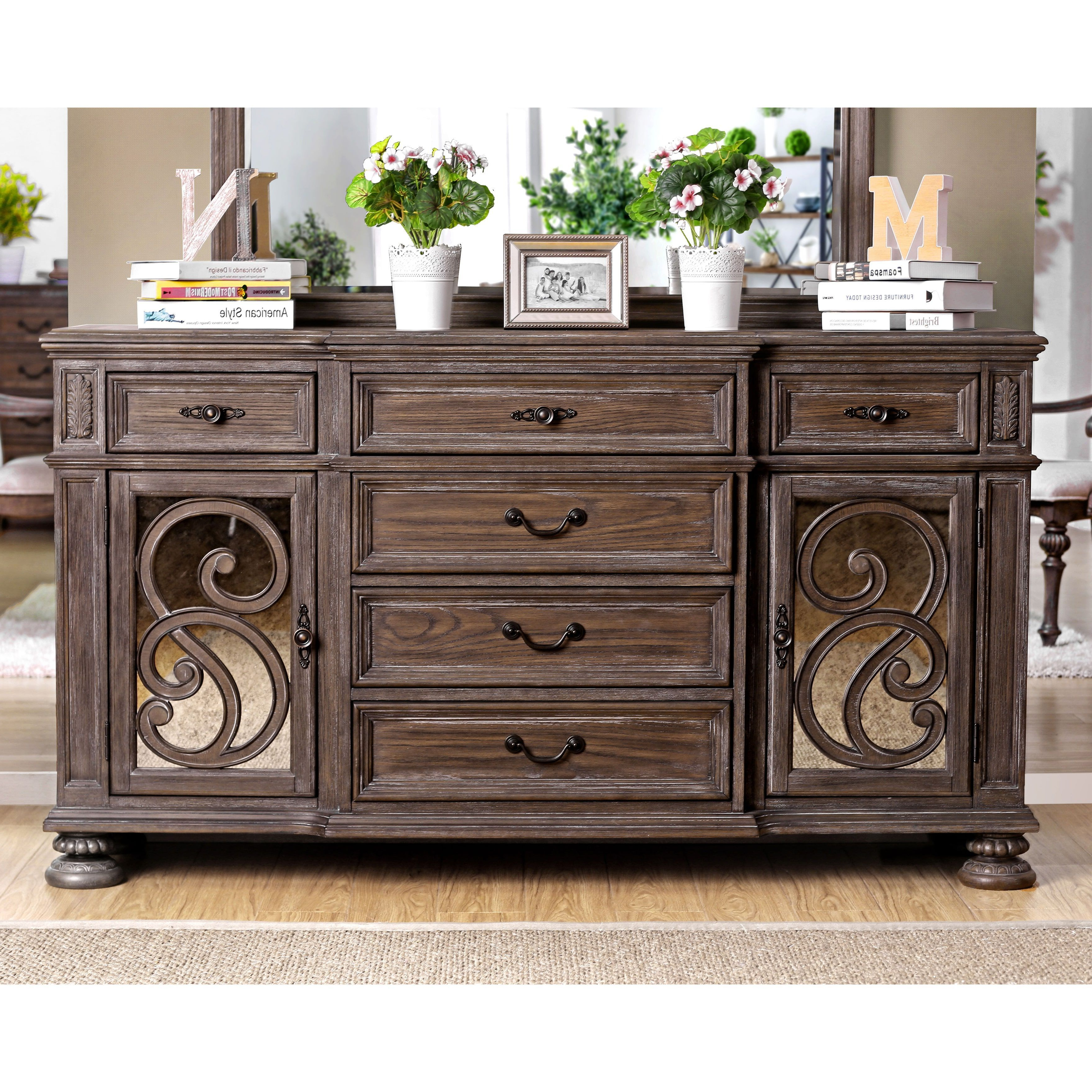 Furniture Of America Dianne Scrolled Mirrored Multi Storage Pertaining To Emmaline Sideboards (View 15 of 20)
