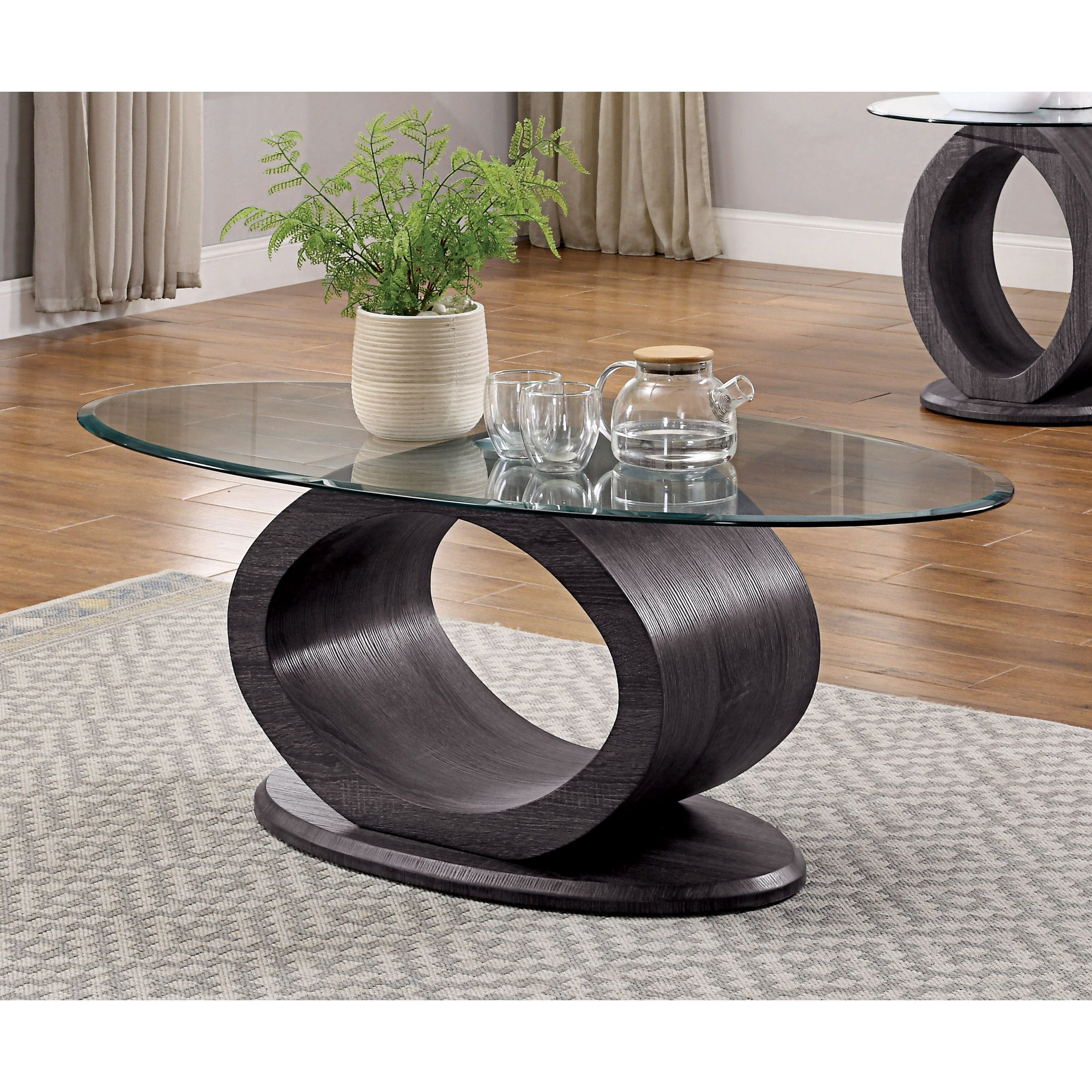 Furniture Of America Eugene Grey Wood Glass Contemporary Coffee Table In Well Liked Evalline Modern Dark Walnut Coffee Tables (View 6 of 20)