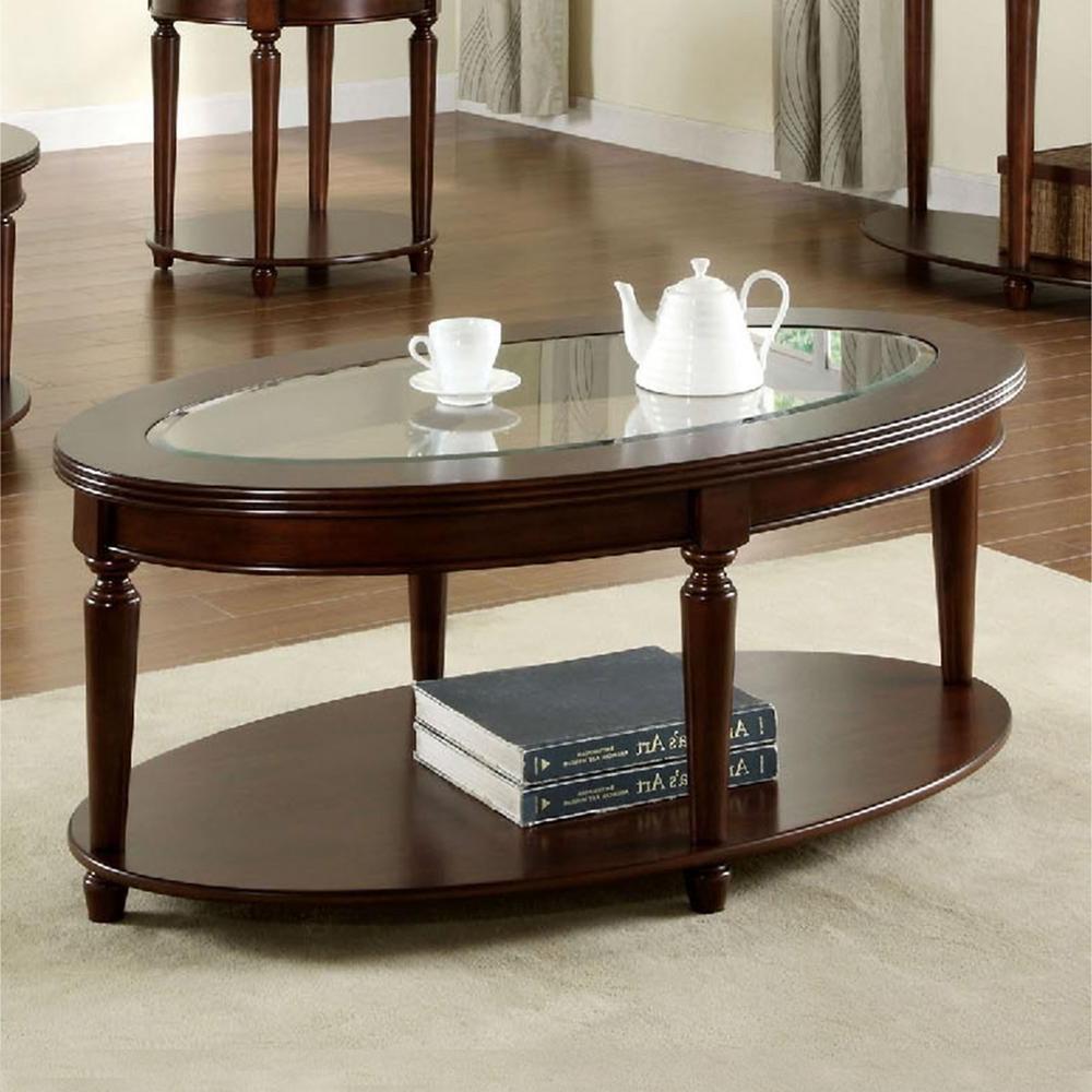 Furniture Of America Granvia Dark Cherry Coffee Table Within Famous Evalline Modern Dark Walnut Coffee Tables (View 5 of 20)