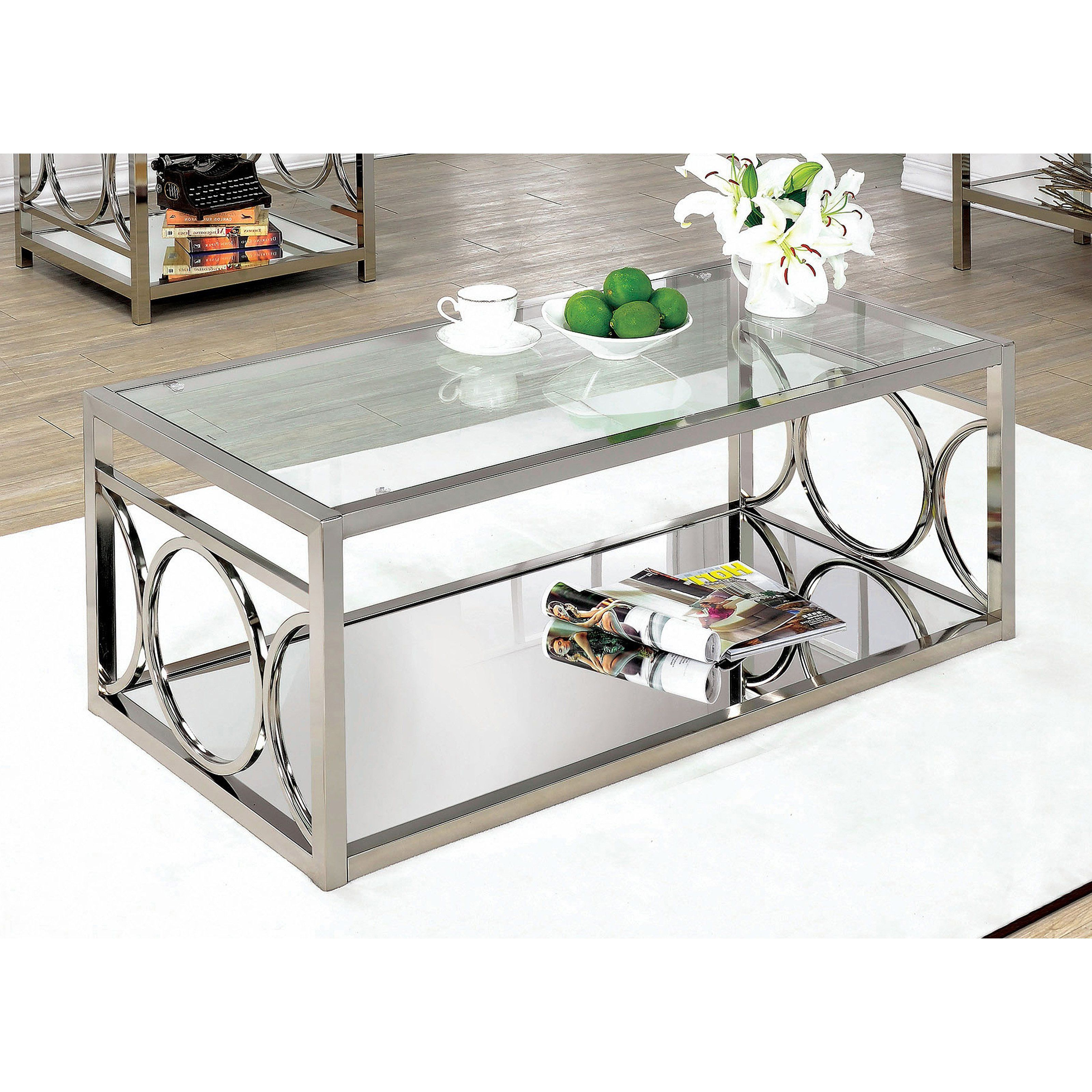 Furniture Of America Nadya Circle Accented Coffee Table Pertaining To Fashionable Furniture Of America Tellarie Contemporary Chrome Coffee Tables (View 13 of 20)