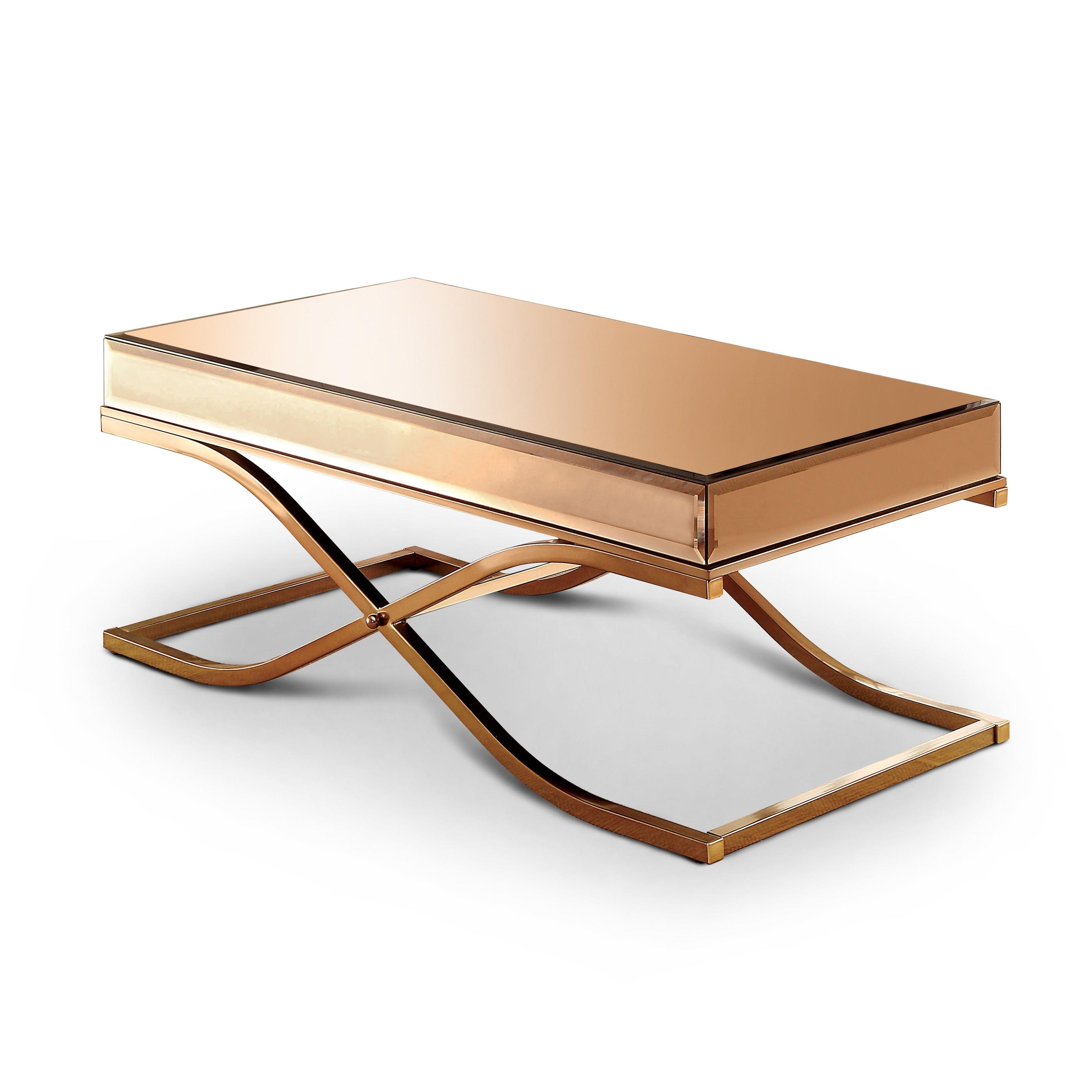 Furniture Of America Orelia Brass Luxury Copper Metal Coffee Table For 2019 Furniture Of America Orelia Brass Luxury Copper Metal Coffee Tables (View 3 of 20)