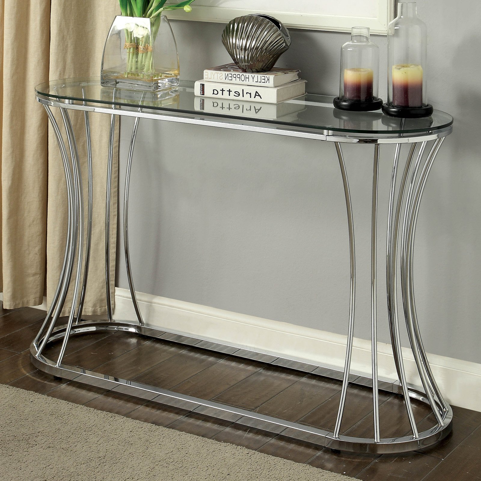 Furniture Of America Rocca Curved Chrome Console Table In Most Up To Date Strick & Bolton Jules Chrome And Glass Coffee Tables (View 19 of 20)