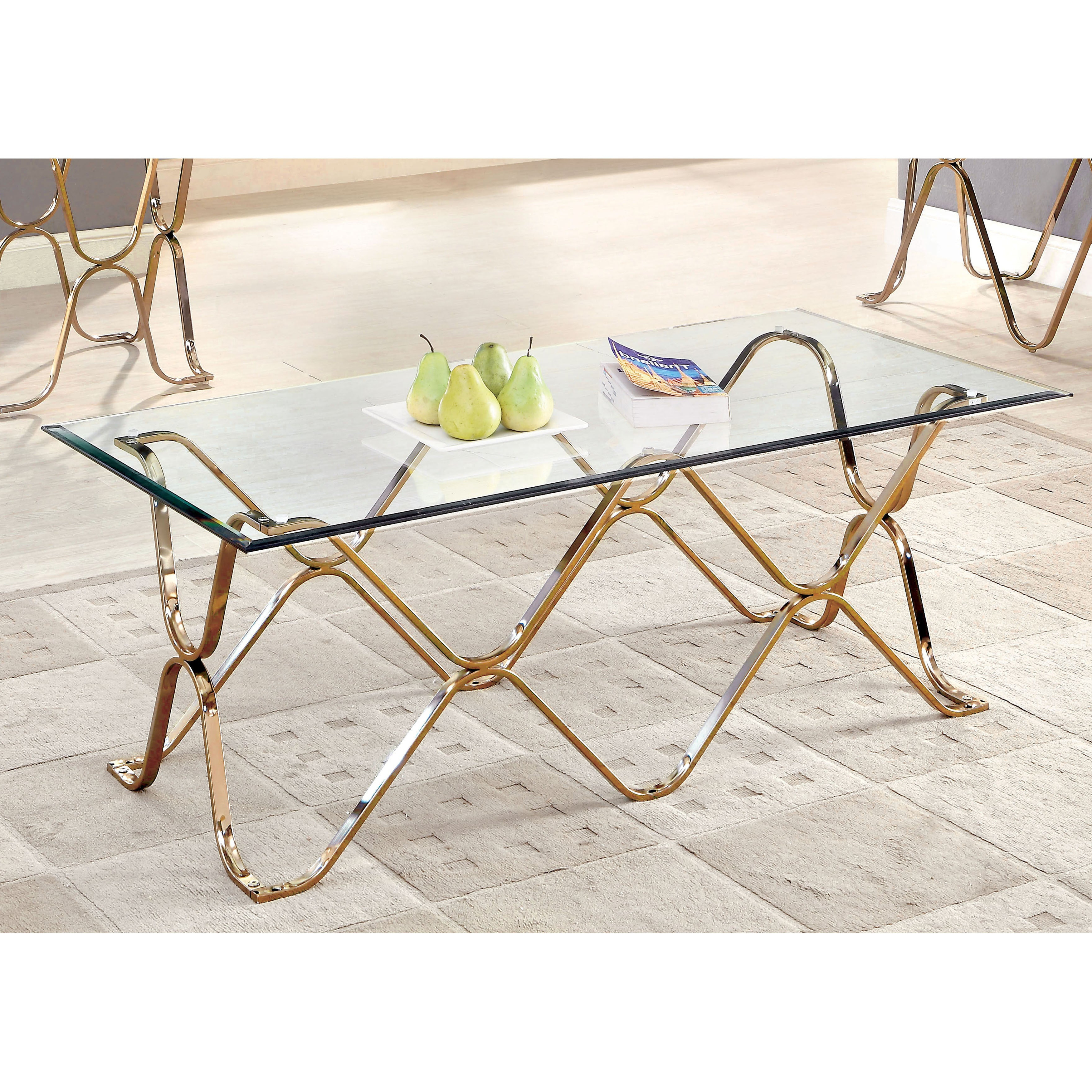 Furniture Of America Tellarie Contemporary Champagne Coffee Table Pertaining To Favorite Furniture Of America Tellarie Contemporary Chrome Coffee Tables (View 7 of 20)