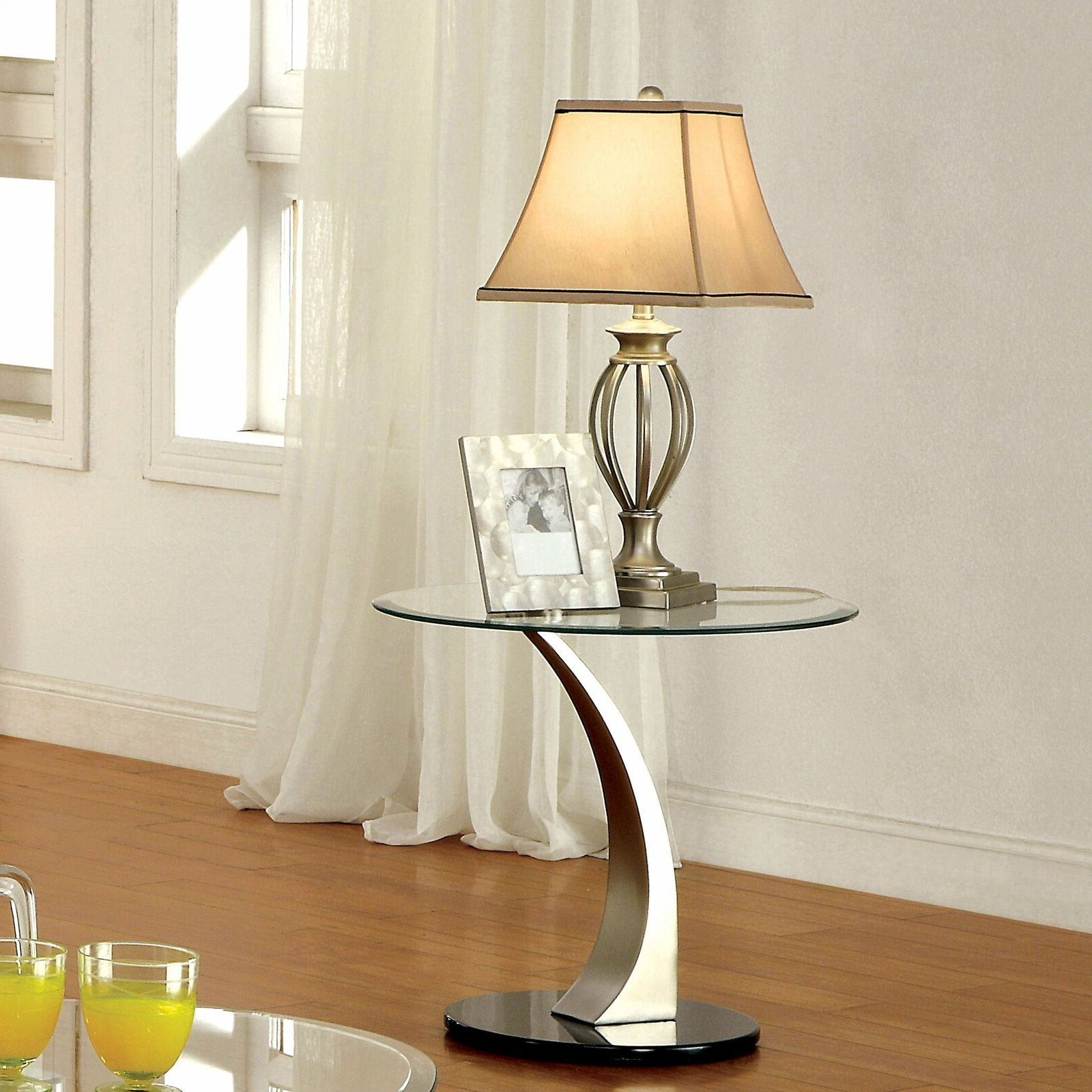 Furniture Of America Velma Satin Plated End Table With Clear Silver N/a Intended For Current Carmella Satin Plated Coffee Tables (View 14 of 20)