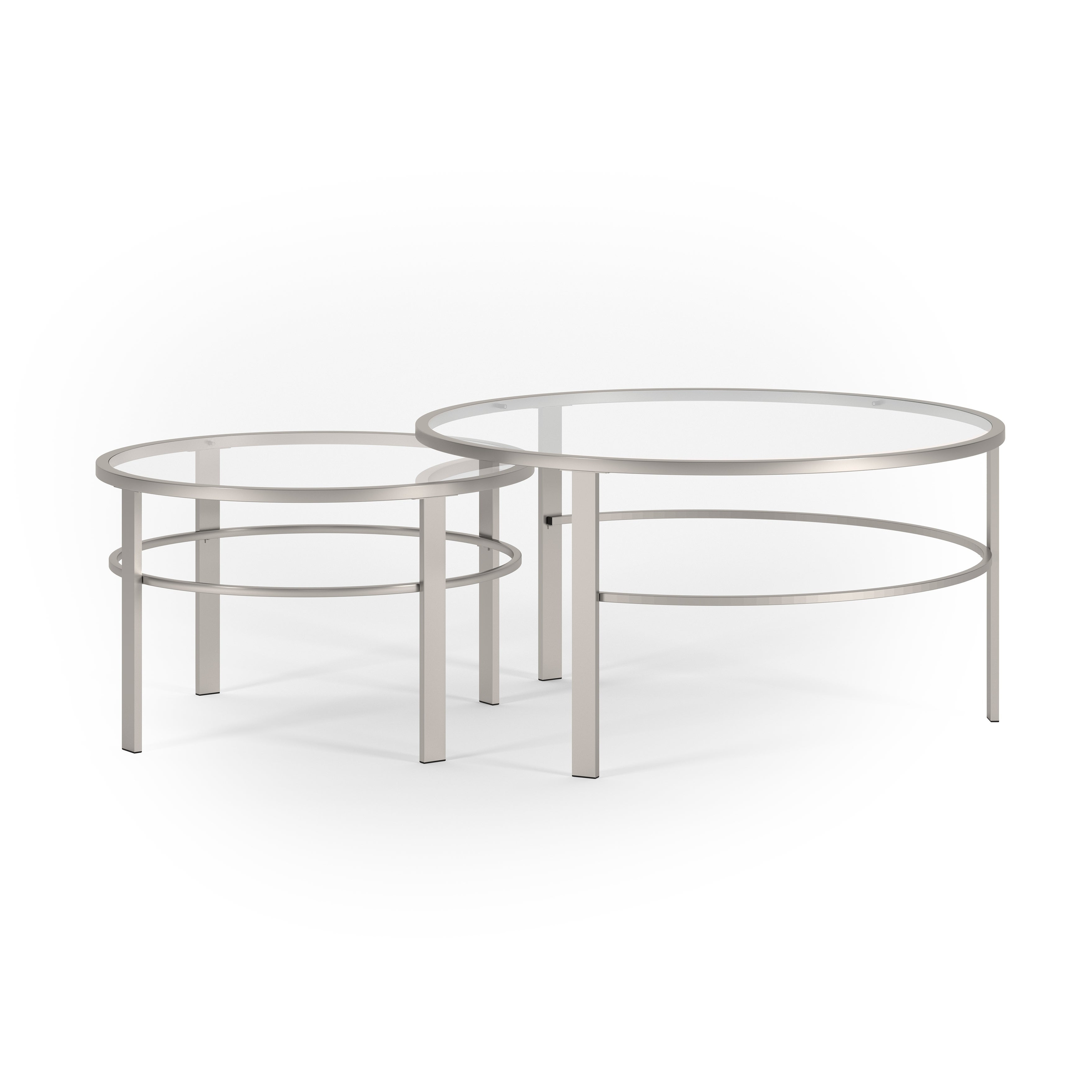 Gaia Round Metal/ Tempered Glass Nesting Coffee Tables – 2 Pc Set In Silver  Nickel Finish Throughout Famous Mitera Round Metal Glass Nesting Coffee Tables (View 5 of 20)
