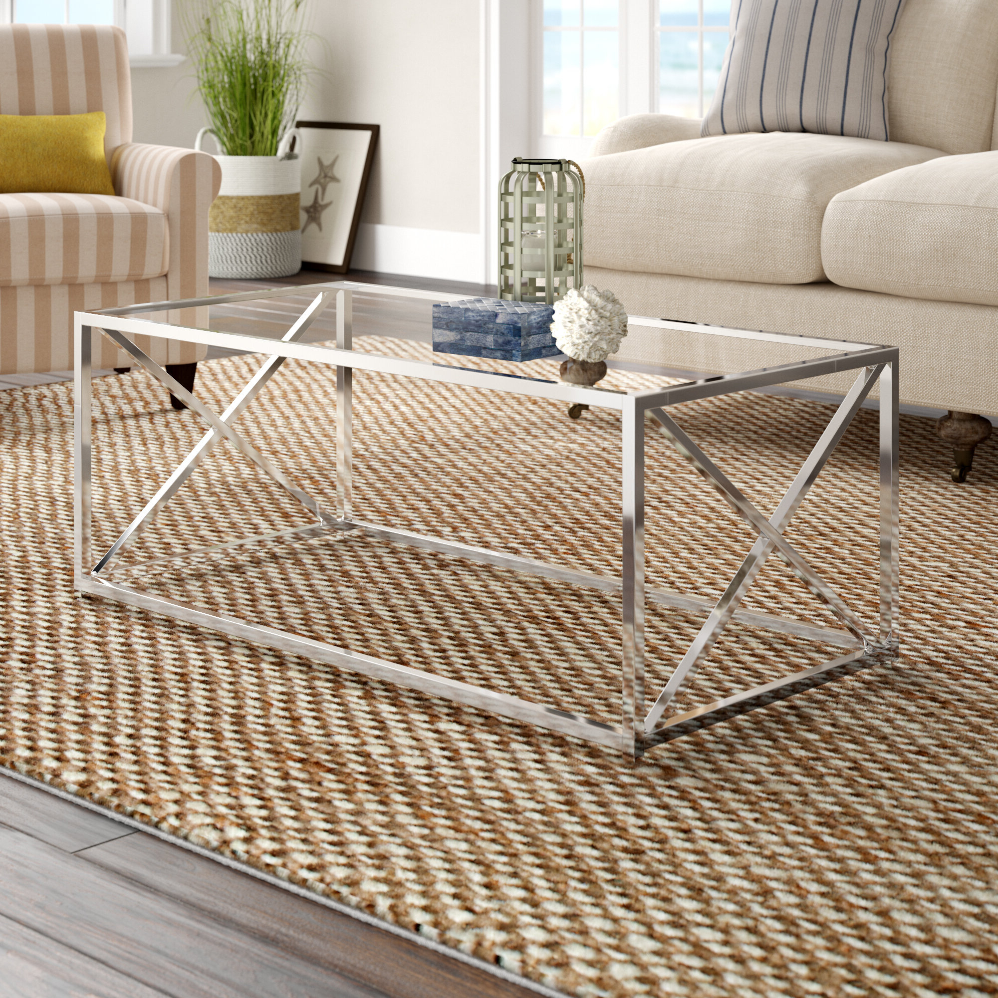 Geise Tempered Glass Coffee Table With Latest Coaster Company Silver Glass Coffee Tables (View 17 of 20)