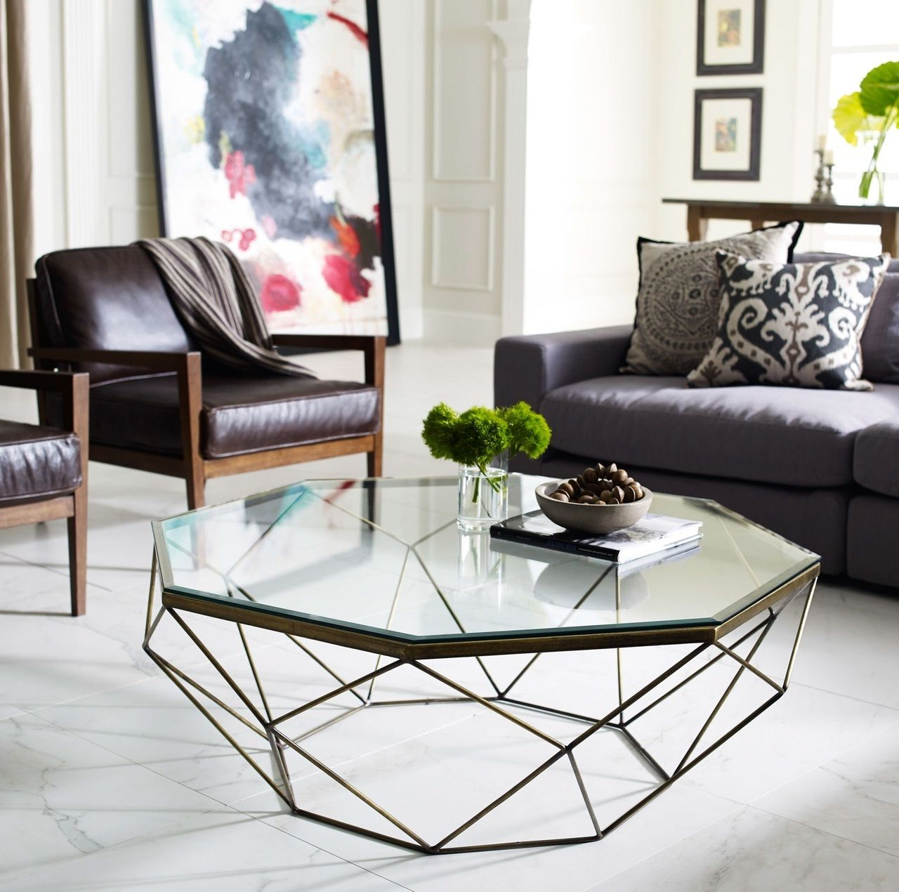 Geometric Antique Brass Coffee Table With Glass Top Regarding Trendy Silver Orchid Ipsen Round Coffee Tables With X Base (View 15 of 20)