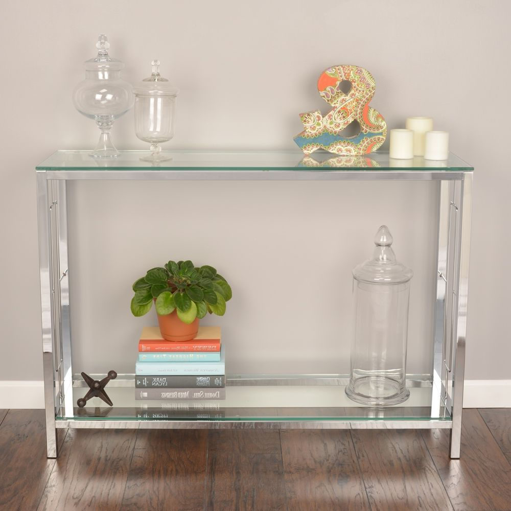 Glass Entryway Table Shelf Contemporary Console Silver With Regard To Famous Strick & Bolton Jules Chrome And Glass Coffee Tables (Gallery 14 of 20)