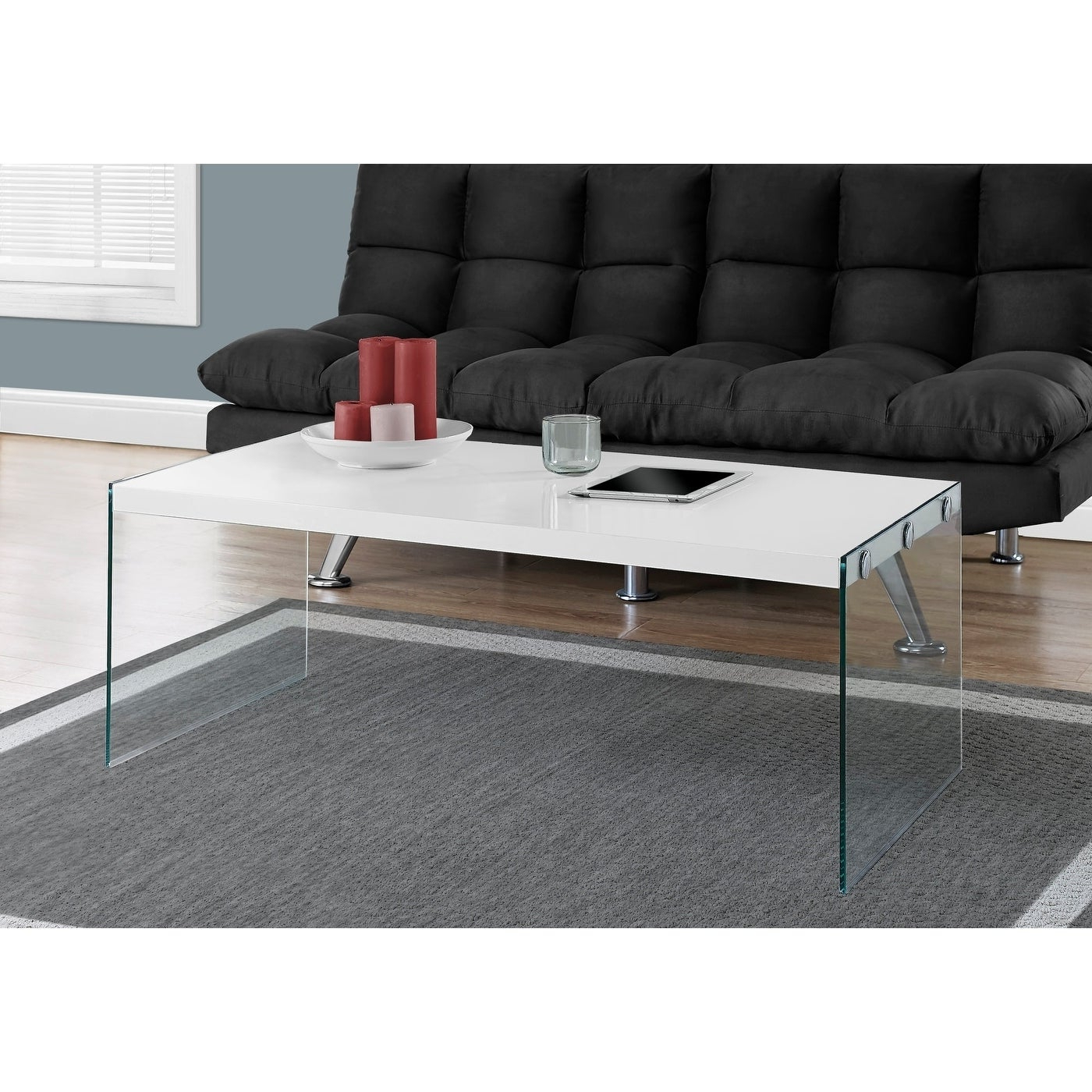 Featured Photo of Glossy White Hollow Core Tempered Glass Cocktail Tables