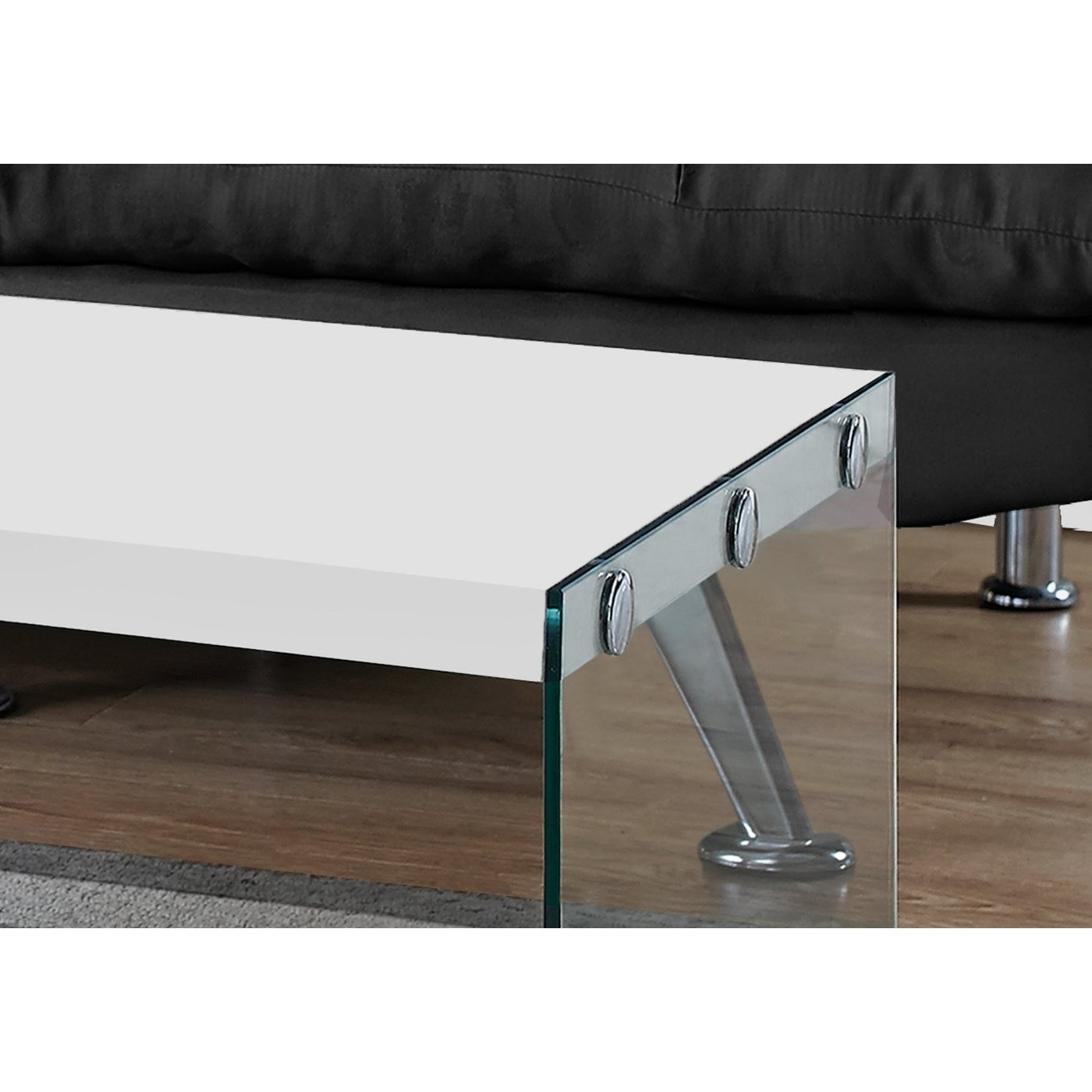 Glossy White Hollow Core Tempered Glass Cocktail Table Throughout Fashionable Glossy White Hollow Core Tempered Glass Cocktail Tables (View 2 of 20)