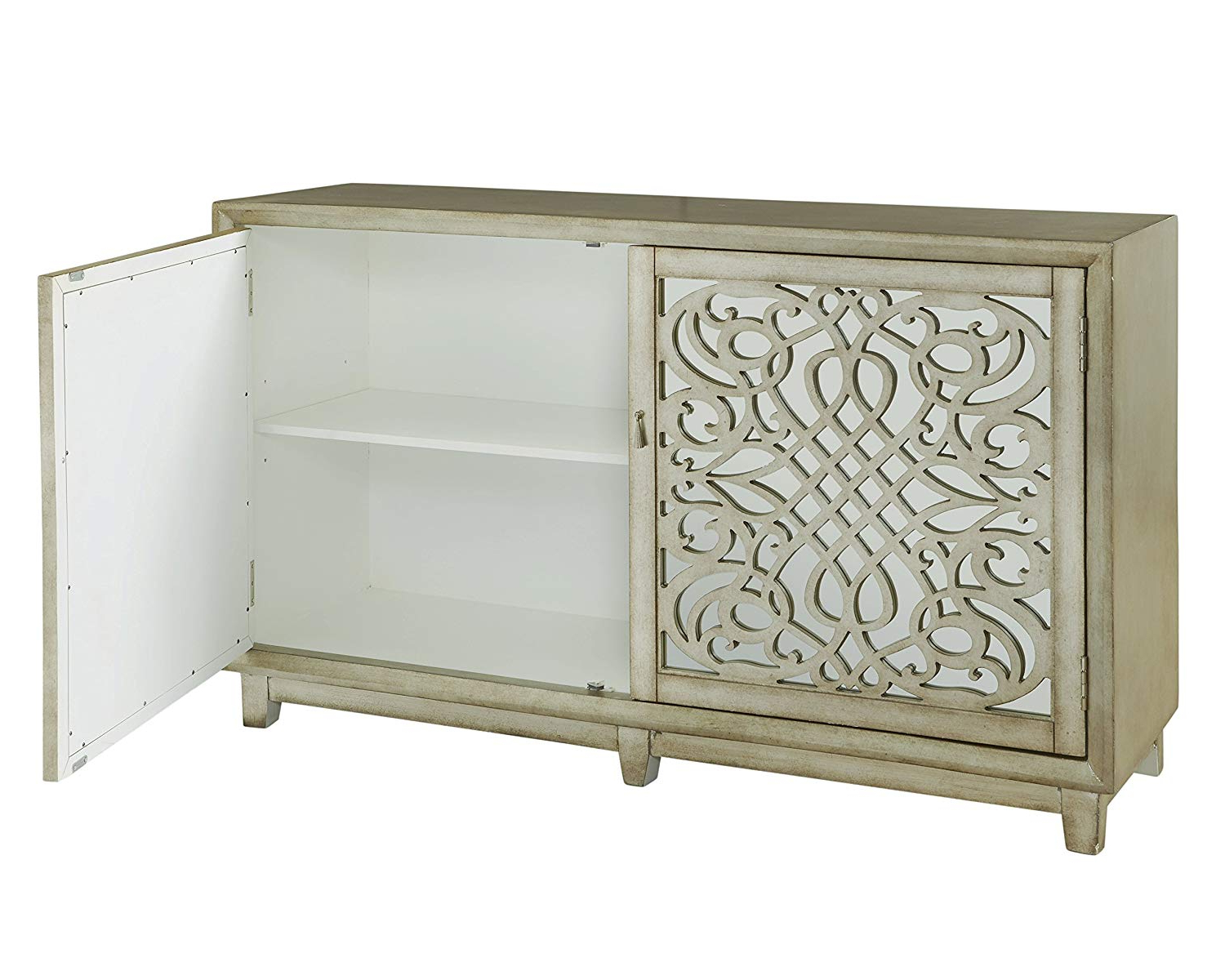 Gorgeous Buffets White Dining Credenza Furniture Cabinet In Amityville Sideboards (Gallery 20 of 20)