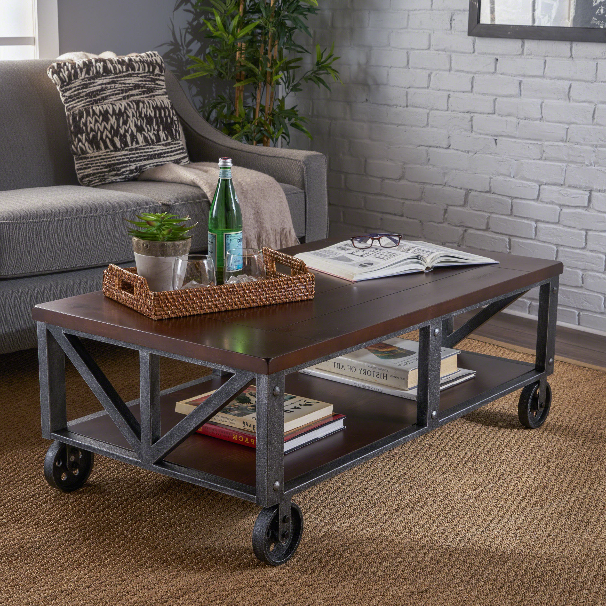 Gracie Oaks Warleigh Coffee Table With Casters Wayfair With Well Liked Montgomery Industrial Reclaimed Wood Coffee Tables With Casters (View 7 of 20)