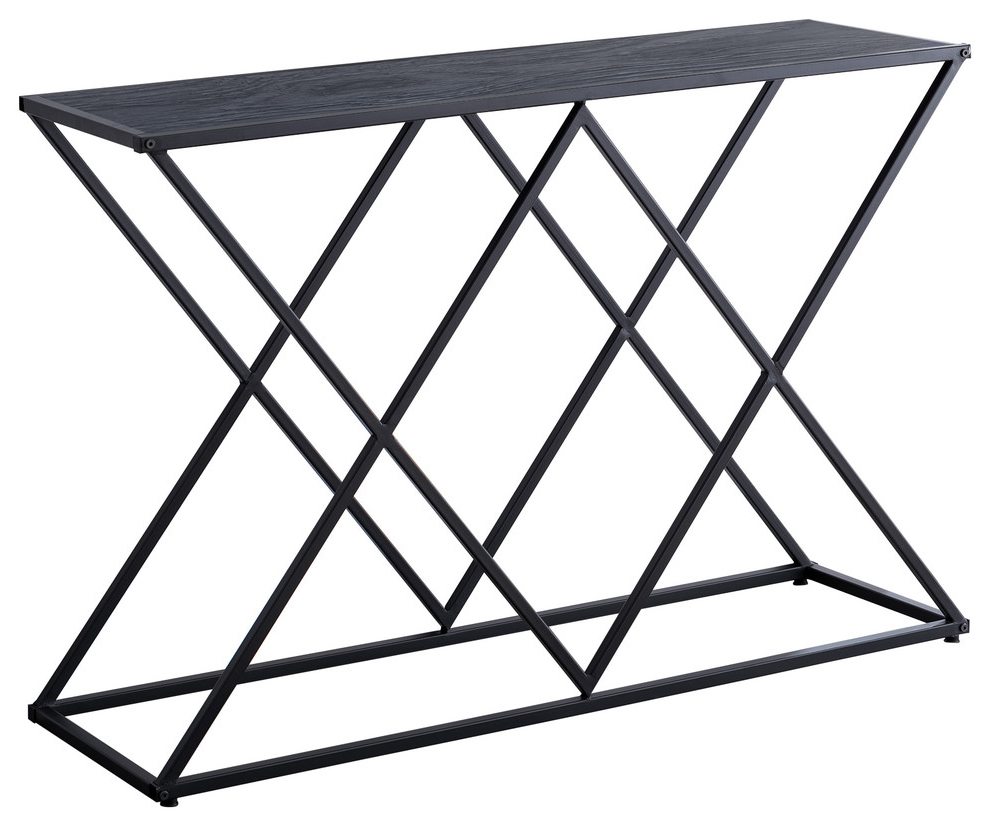 Greta Entryway Console Sofa Table, Black Metal Frame & Gray Wood Top Pertaining To Best And Newest Mishie Contemporary Champagne 2 Piece Accent Tables Set By Foa (Gallery 18 of 20)