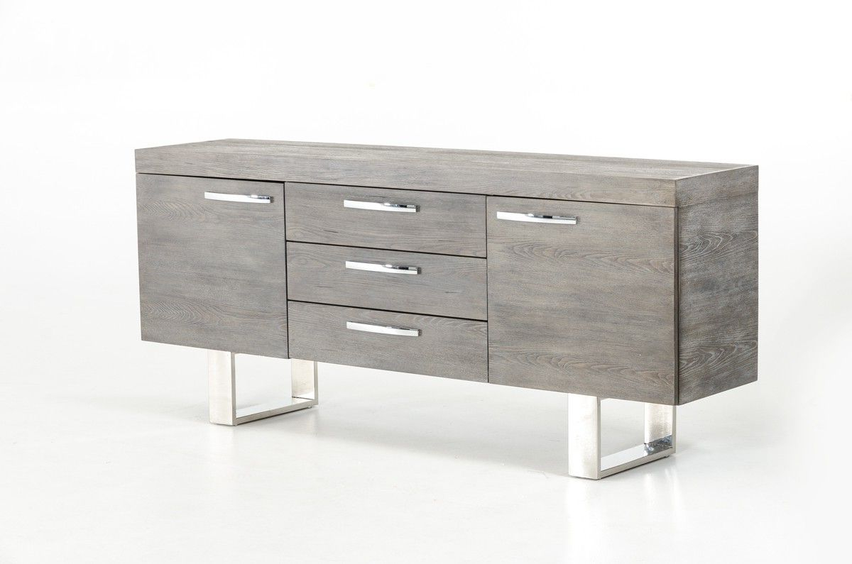 Grey Wood Buffet With Doors And Drawers In 2019 | Ideas For Regarding Lola Sideboards (View 7 of 20)