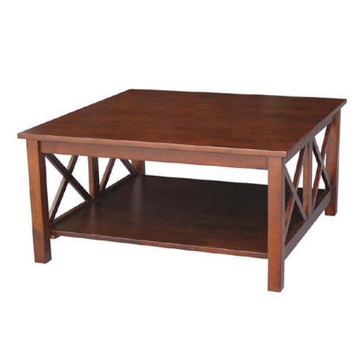 """Hampton 18""""h Espresso Square Coffee Table Pertaining To Well Known 'hampton' Unfinished Solid Parawood Square Coffee Tables (View 19 of 20)"""