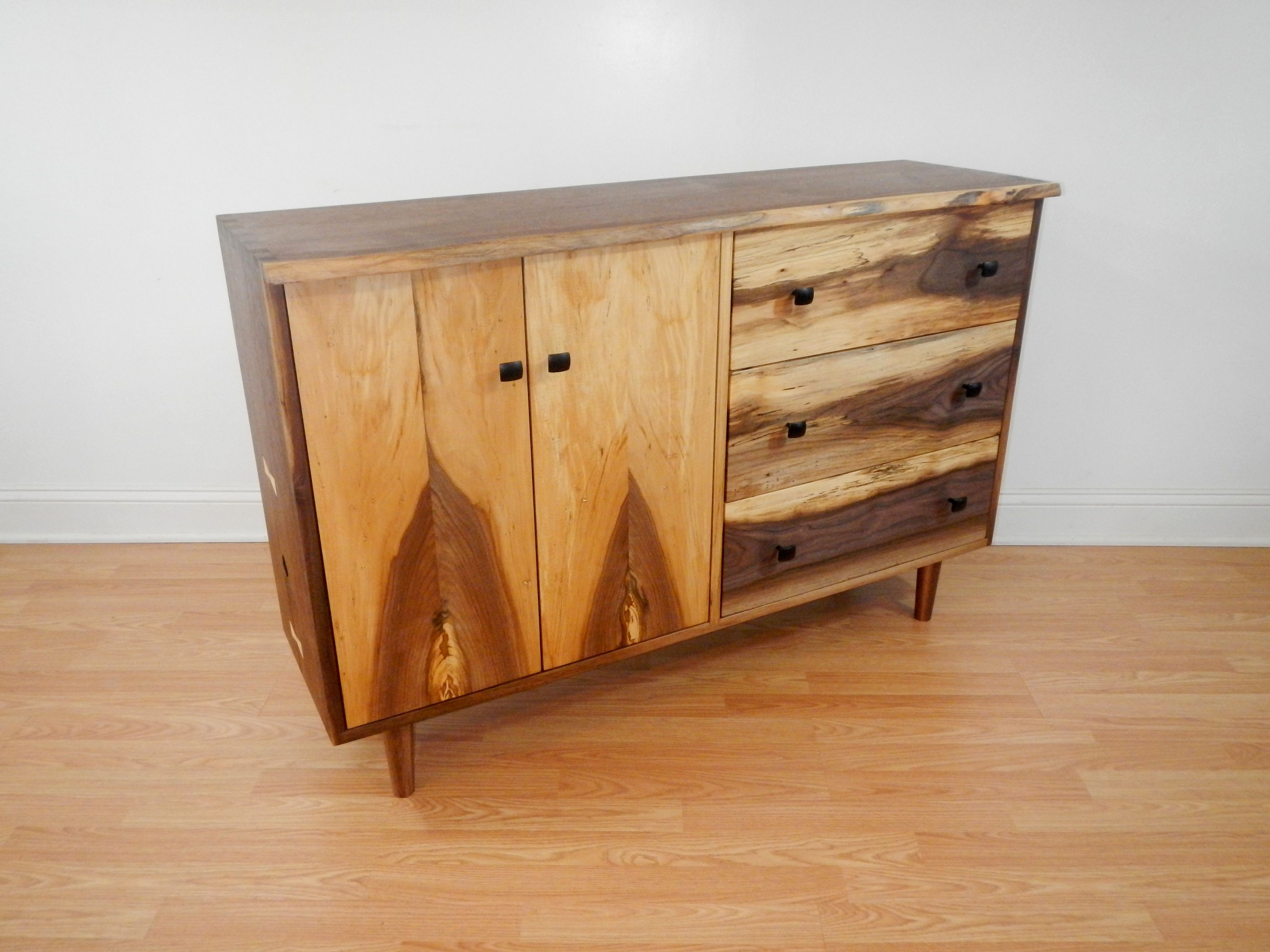 Hand Crafted Mid Century Modern Style Credenza With Hand Cut Intended For Stephen Credenzas (View 6 of 20)