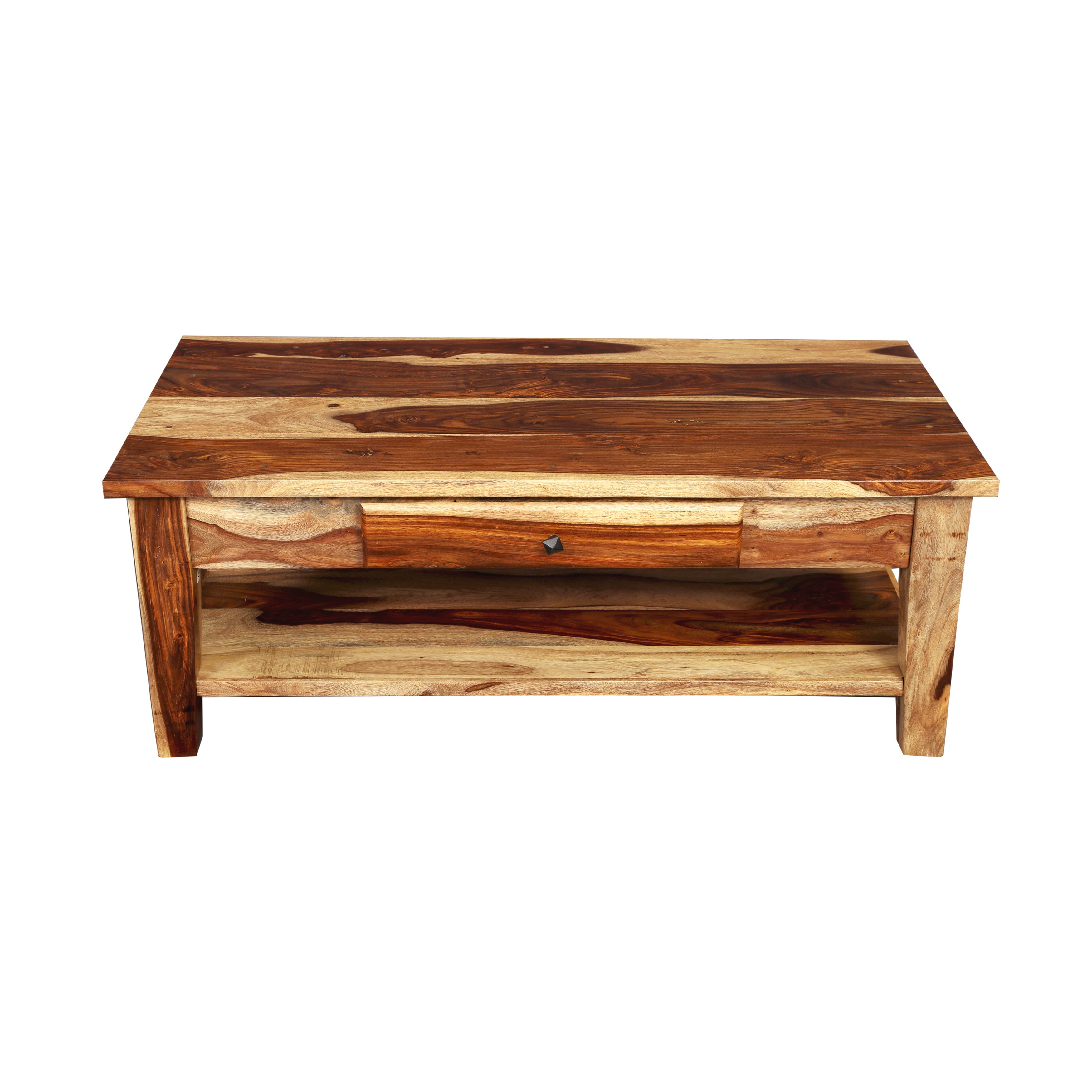 "Handmade Porter Taos Solid Sheesham Coffee Table With Storage Drawer (india) – 18""h X 24""w X 48""l Pertaining To Most Up To Date Idris Dark Sheesham Solid Wood Coffee Tables (View 6 of 20)"