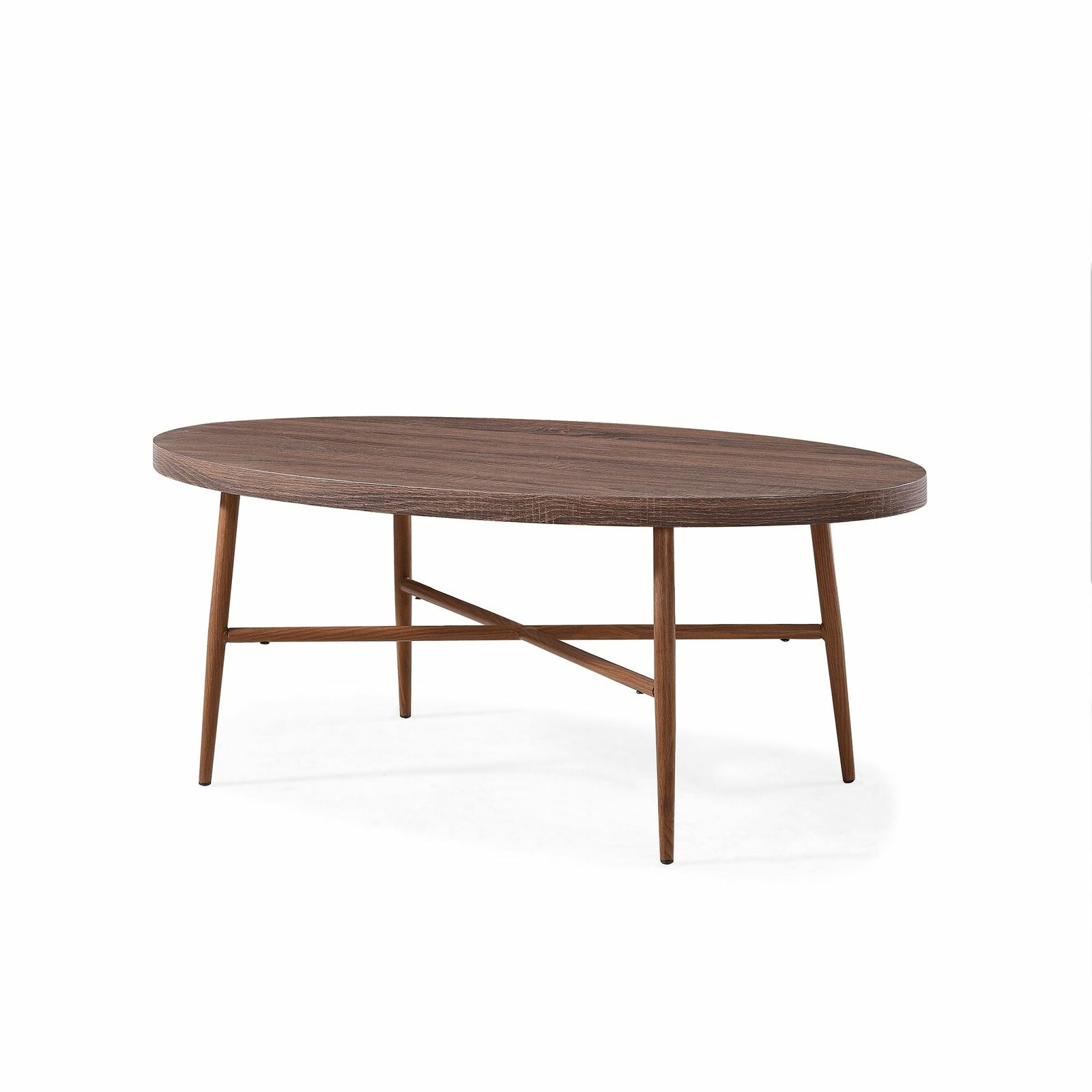 Handy Living Miami Brown Oval Coffee Table With Brown Metal Brown Intended For 2020 Handy Living Miami White Oval Coffee Tables With Brown Metal Legs (View 14 of 20)