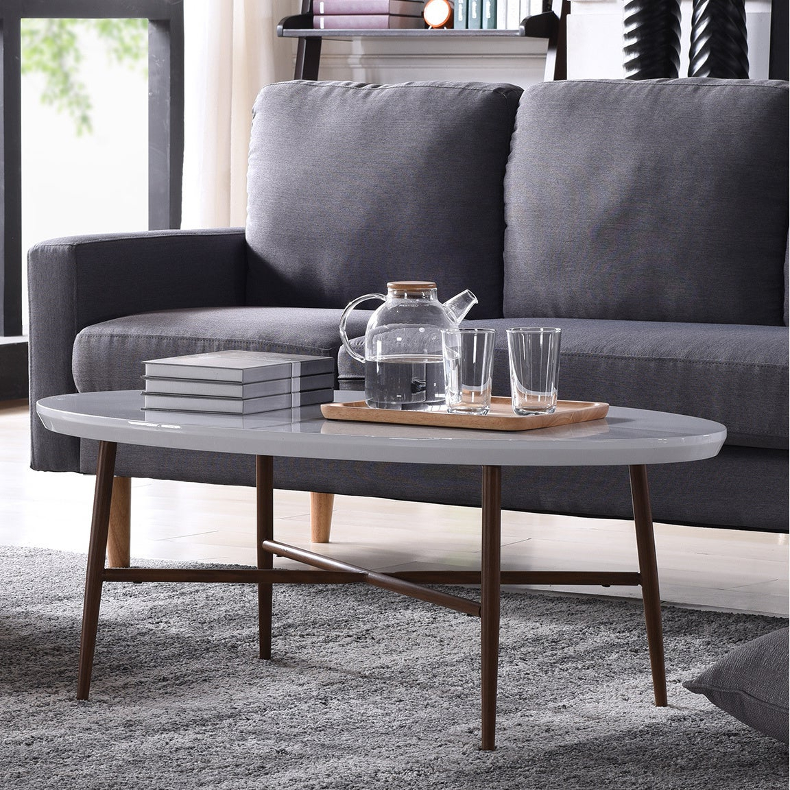 Featured Photo of Handy Living Miami White Oval Coffee Tables With Brown Metal Legs