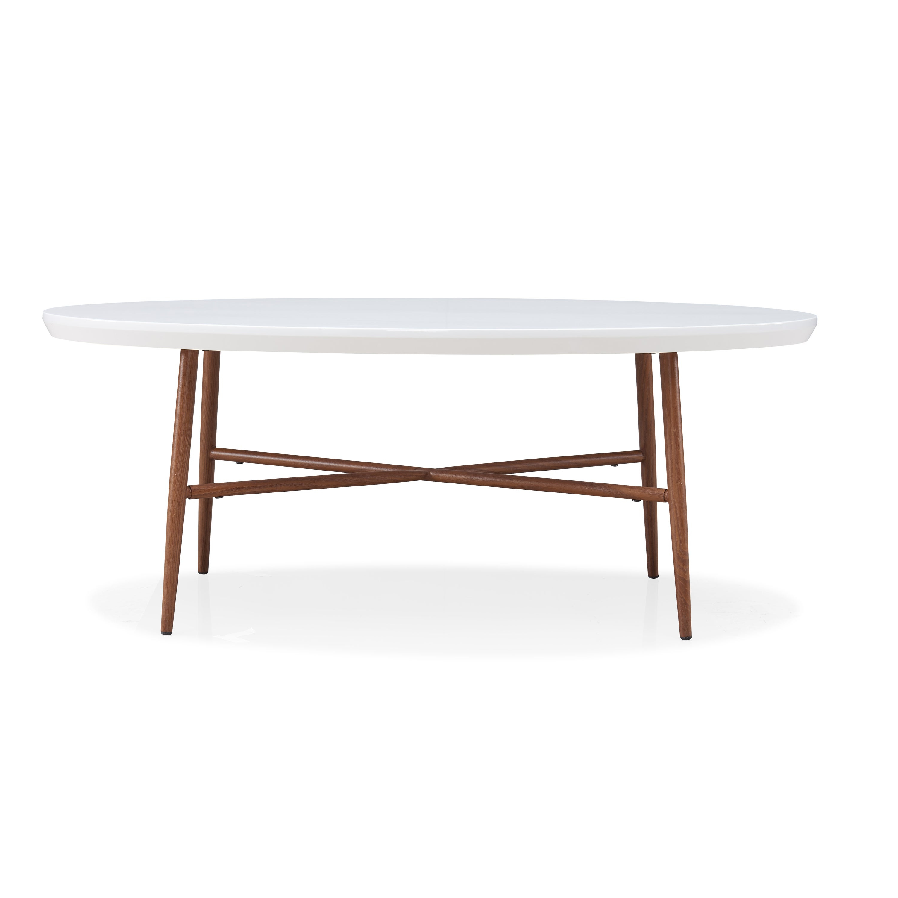 Handy Living Miami White Oval Coffee Table With Brown Metal Legs Regarding Well Liked Handy Living Miami White Oval Coffee Tables With Brown Metal Legs (View 2 of 20)