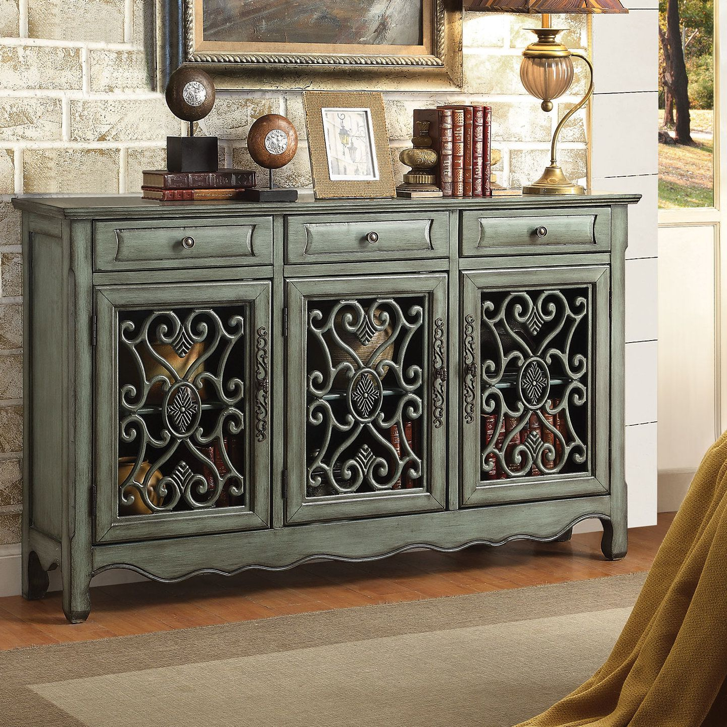Helvic 3 Drawer 3 Door Accent Cabinet | Farmhouse Furniture Within Candace Door Credenzas (View 13 of 20)