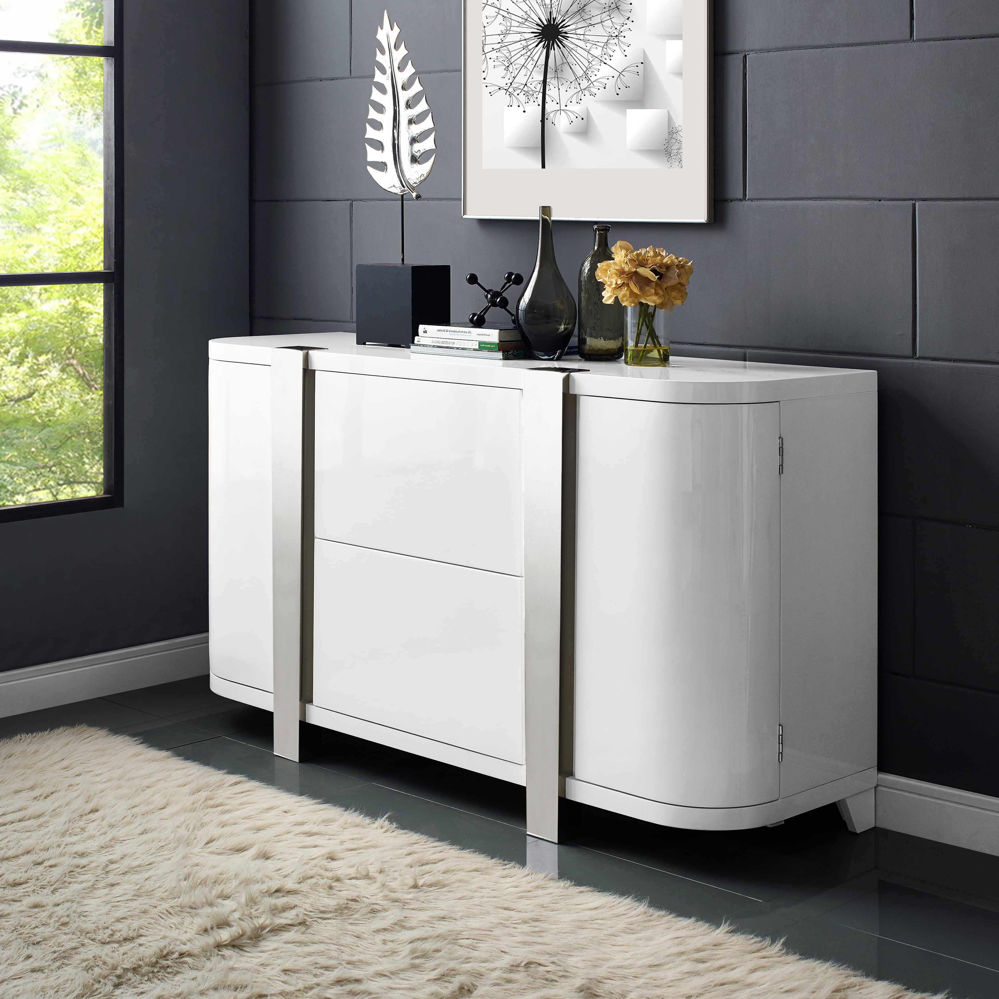 High Gloss White Sideboard   Wayfair Inside Thite Sideboards (View 2 of 20)