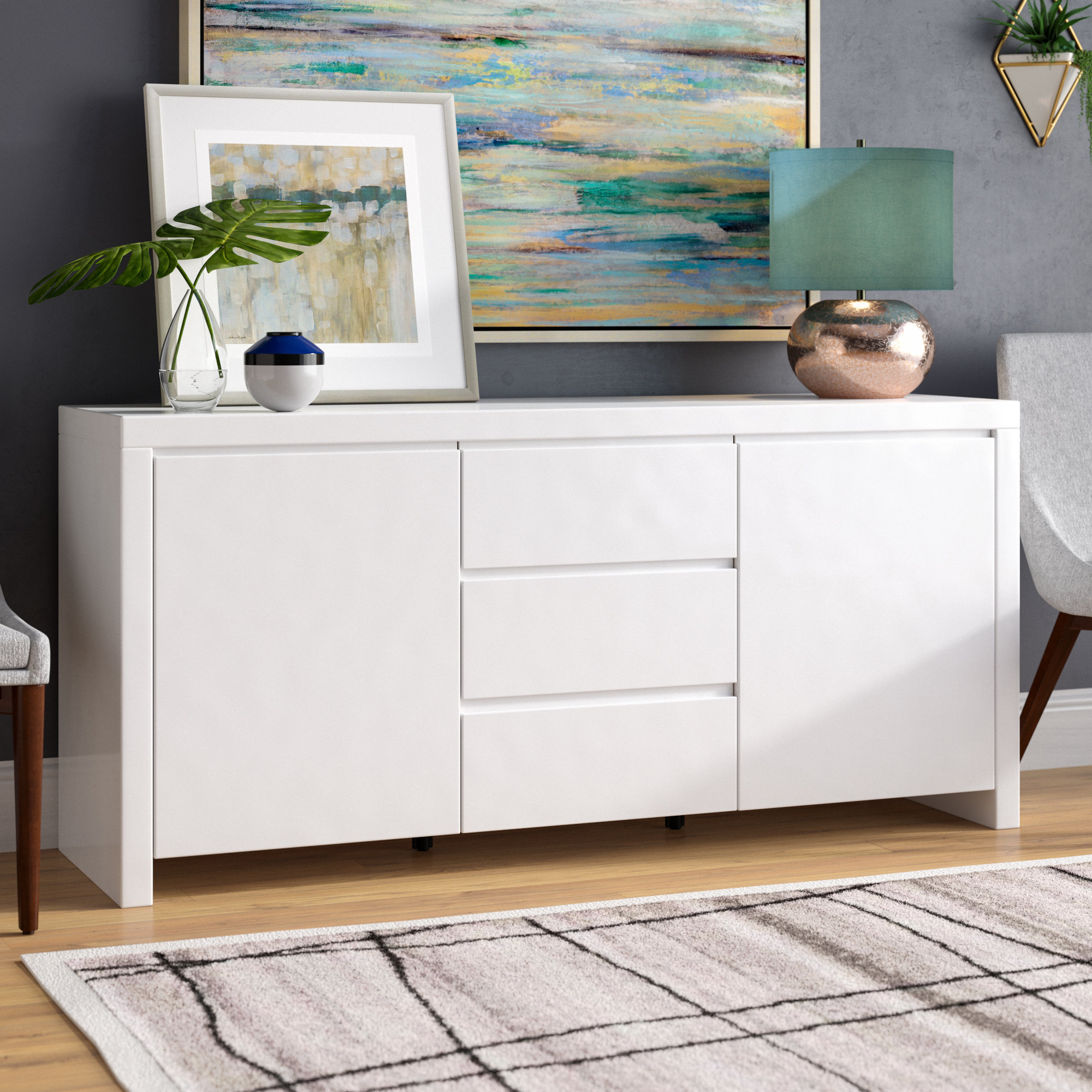 High Gloss White Sideboard | Wayfair Throughout Thite Sideboards (View 6 of 20)