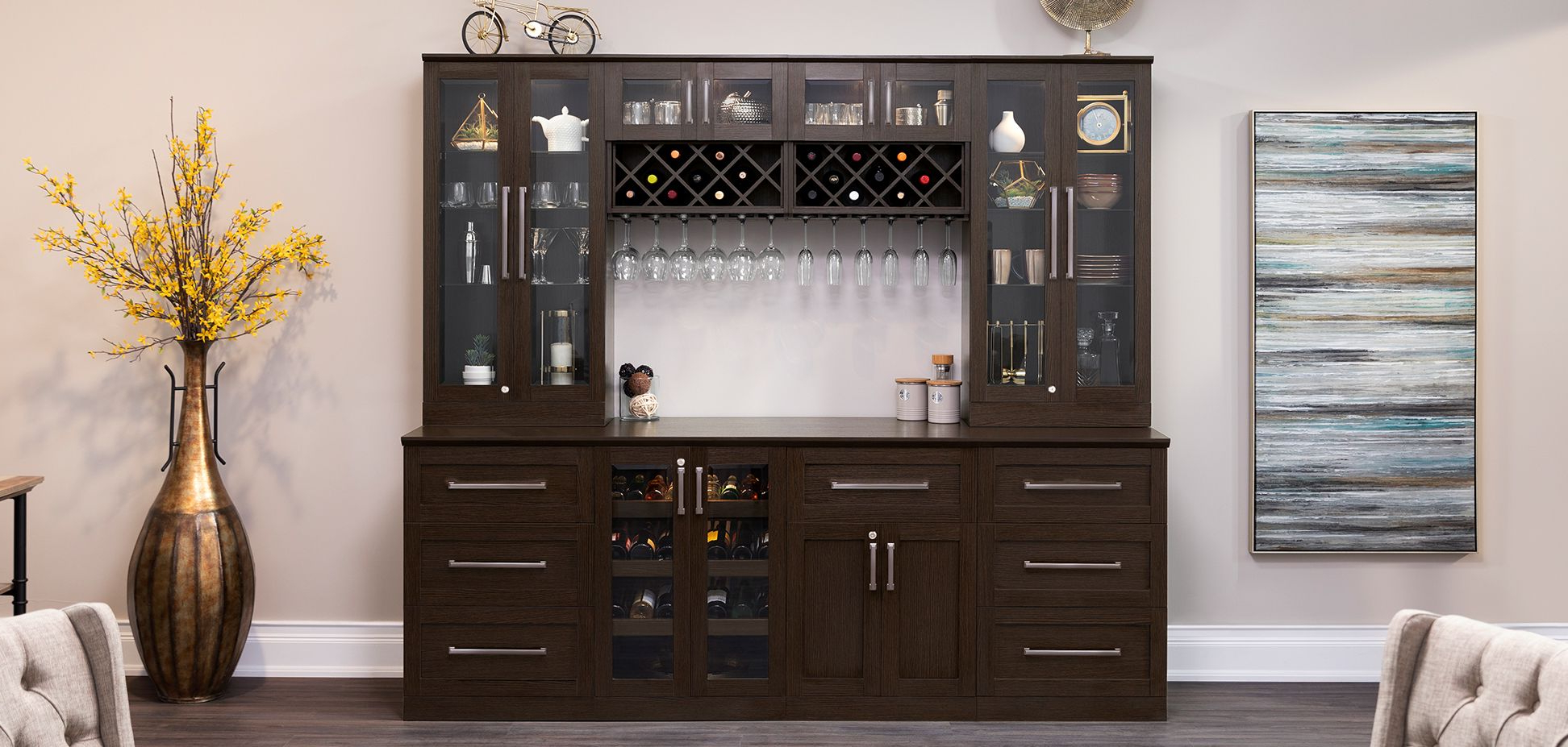 Home Wine Bar 9 Piece Cabinetry Setnewage Products Throughout Abhinav Credenzas (View 20 of 20)