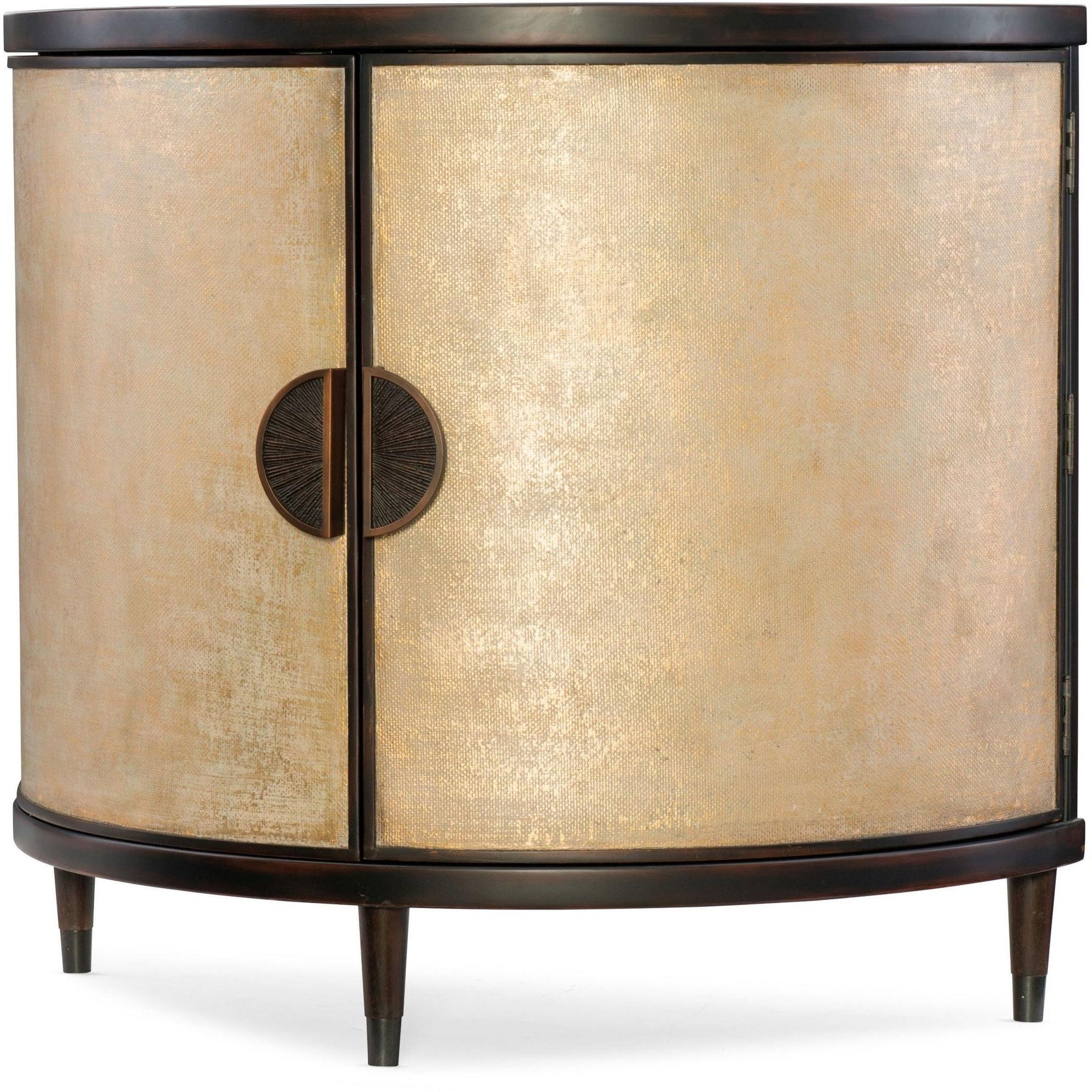 """Hooker Furniture 638 85314 Gld 42 1/4"""" Wide Hardwood Cabinet From The  Melange – Em Demilune Collection – Black And Shimmer Cream Within Melange Brockton Sideboards (View 9 of 20)"""