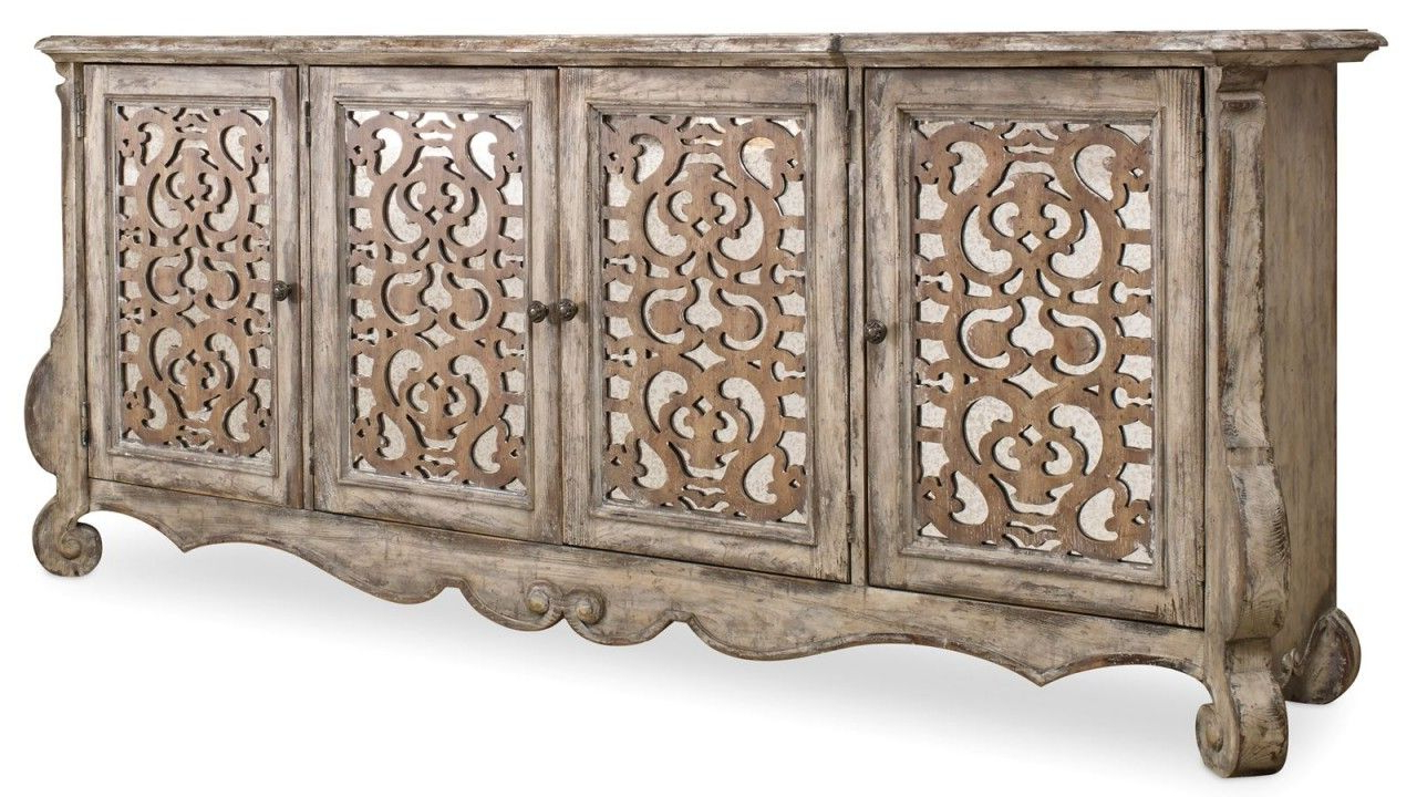 Hooker Furniture Chatelet 4 Door Credenza 5351 85001 With Regard To Steinhatchee Reclaimed Pine 4 Door Sideboards (View 13 of 20)