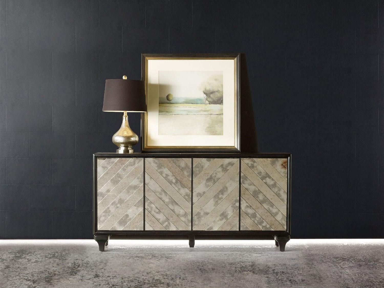 Hooker Furniture Melange Black 68''l X 18''w Rectangular Mirrored Angle  Console Buffet In Melange Brockton Sideboards (View 10 of 20)