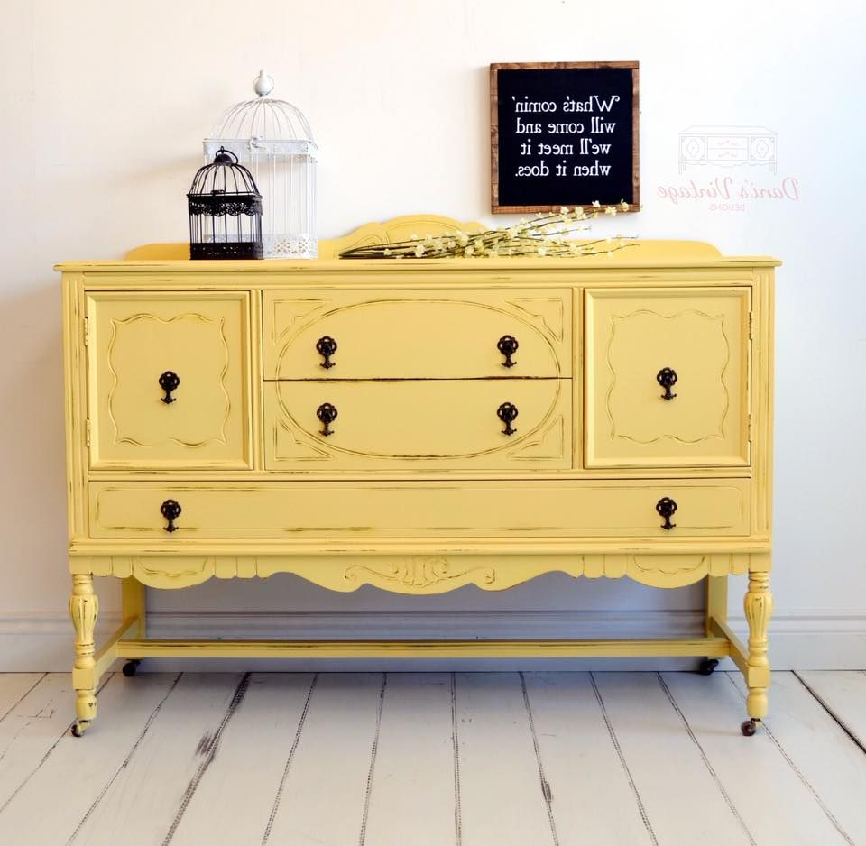 I Love This Vibrantly Painted Yellow / Mustard Antique Regarding Joyner Sideboards (View 17 of 20)