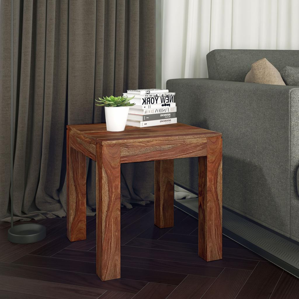 Idris Hand Crafted Wooden Accent Table Dark Sheesham – Casaza Throughout Recent Idris Dark Sheesham Solid Wood Coffee Tables (View 8 of 20)