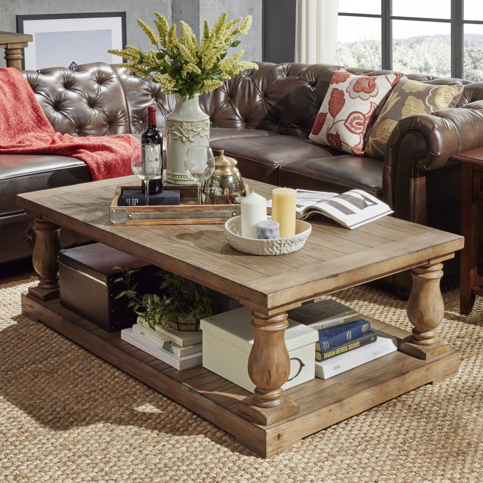 Inspire Q Edmaire Rustic Baluster Weathered Pine 55 Inch Within Fashionable Edmaire Rustic Pine Baluster Coffee Tables (View 13 of 20)
