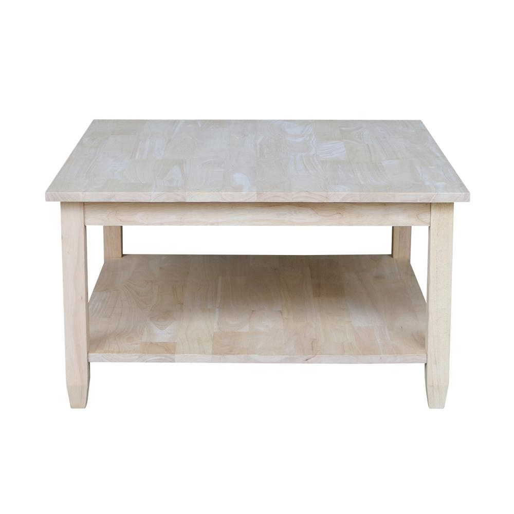 International Concepts Solano Unfinished Coffee Table Ot 6sc Within 2020 Unfinished Solid Parawood Square Coffee Tables (View 20 of 20)