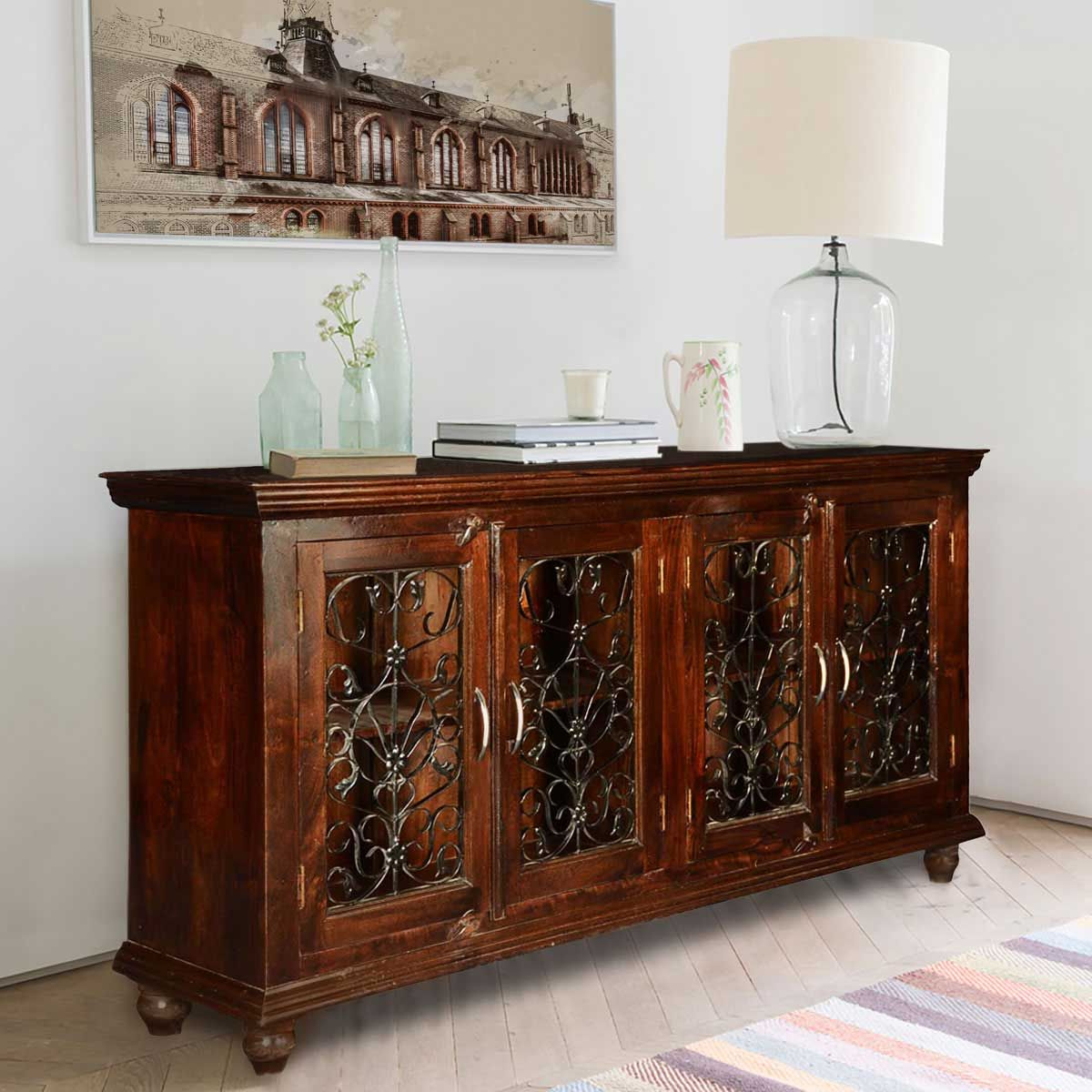 Italian Classic Mango Wood Iron Grille Door Large Buffet With Regard To Kronburgh Sideboards (View 9 of 20)