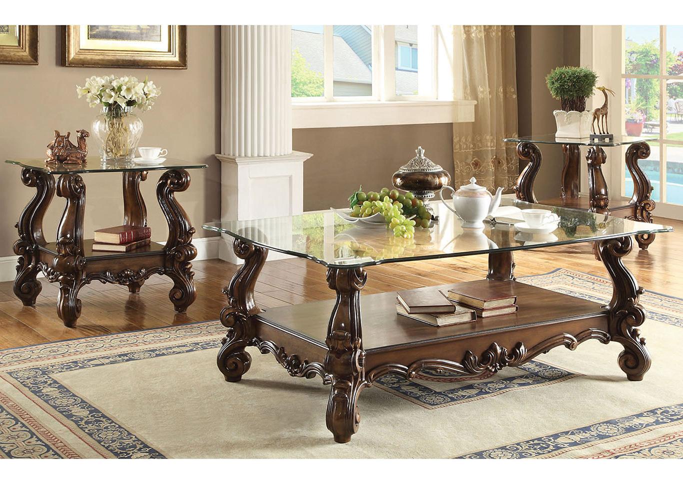 Just Furniture Versailles Cherry Oak & Clear Glass Coffee Table Regarding 2019 Furniture Of America Crescent Dark Cherry Glass Top Oval Coffee Tables (View 12 of 20)