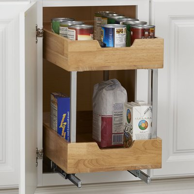 """Kitchen Pantry By Rebrilliant Pertaining To Popular Rebrilliant 2 Tier Wood Pull Out Pantry Size: 17.85"""" H X (Gallery 12 of 20)"""