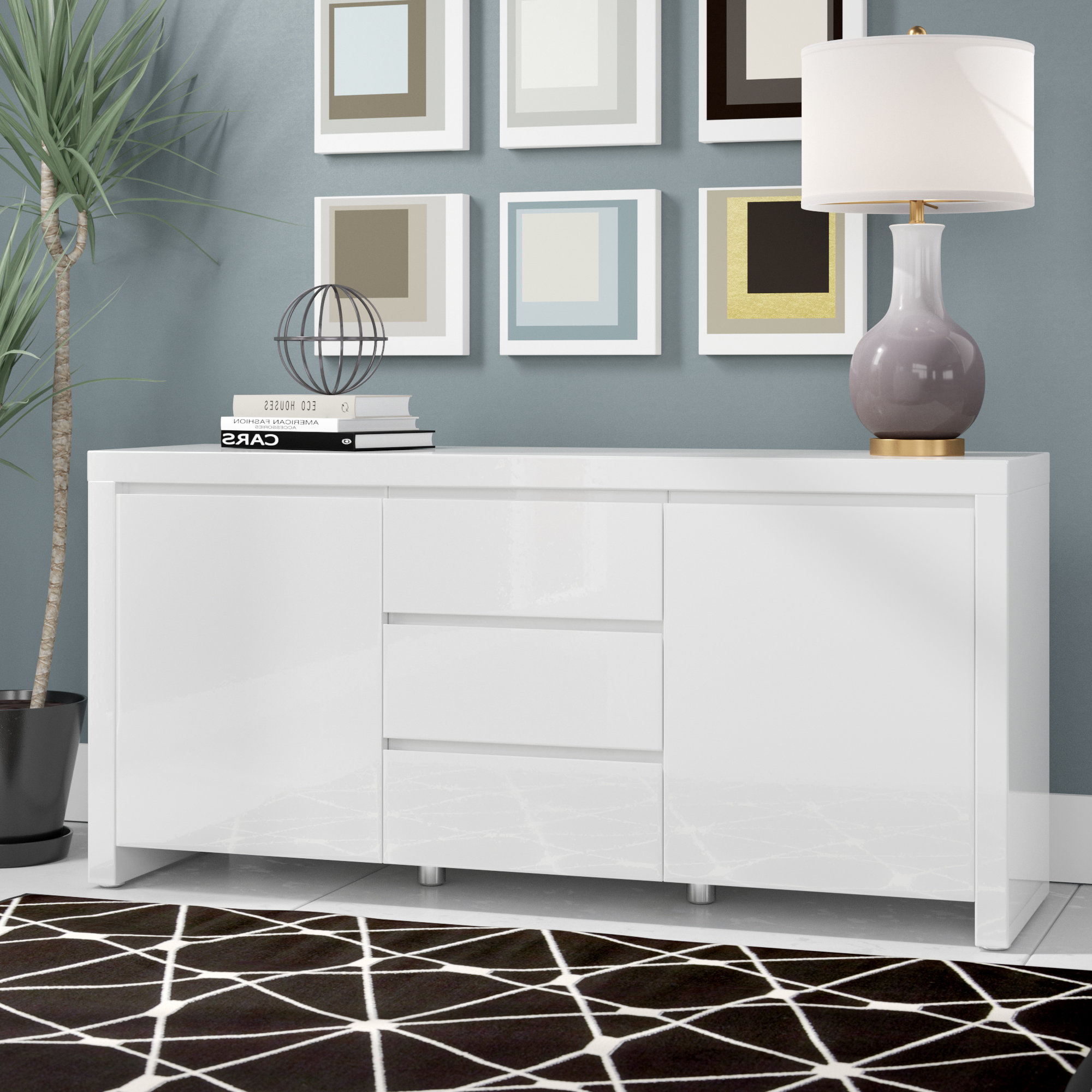 Lacquer Credenza | Wayfair Throughout Wendell Sideboards (View 19 of 20)